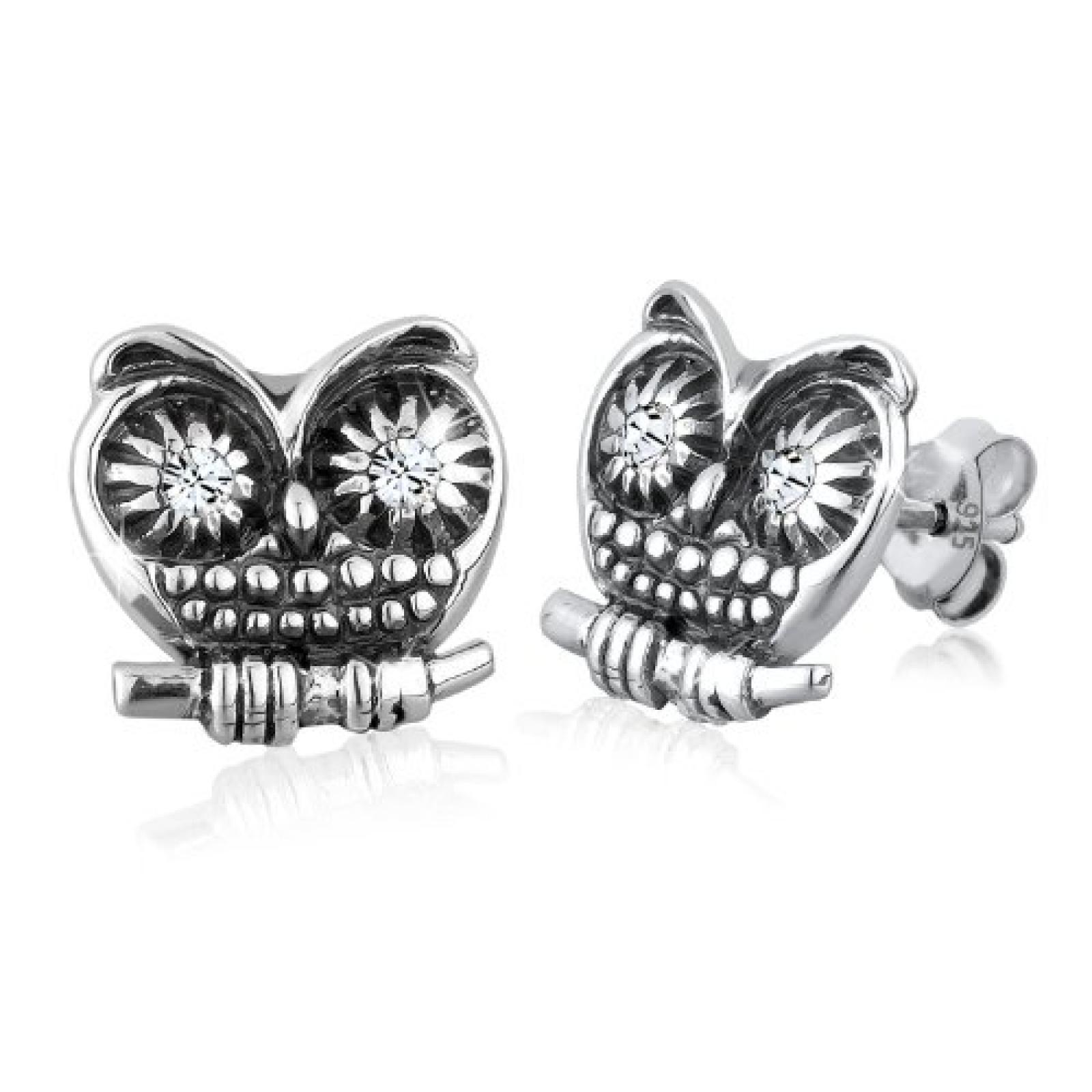 Elli Damen-Ohrstecker Eule 925 Sterling Silber 4 Swarovski-Kristalle 0301182813