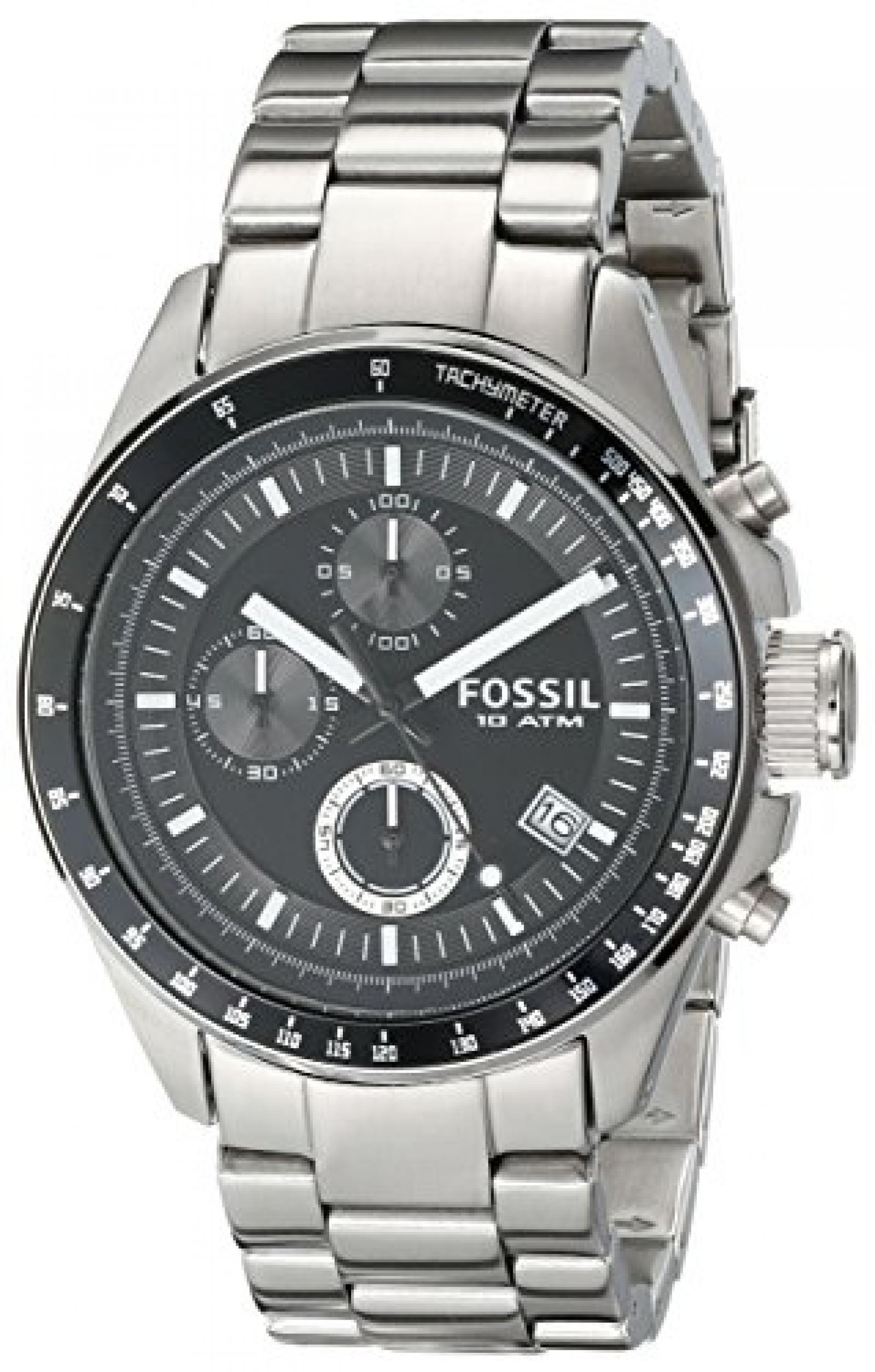 Fossil Herren-Armbanduhr Chronograph Edelstahl silber Sport Gents CH2600
