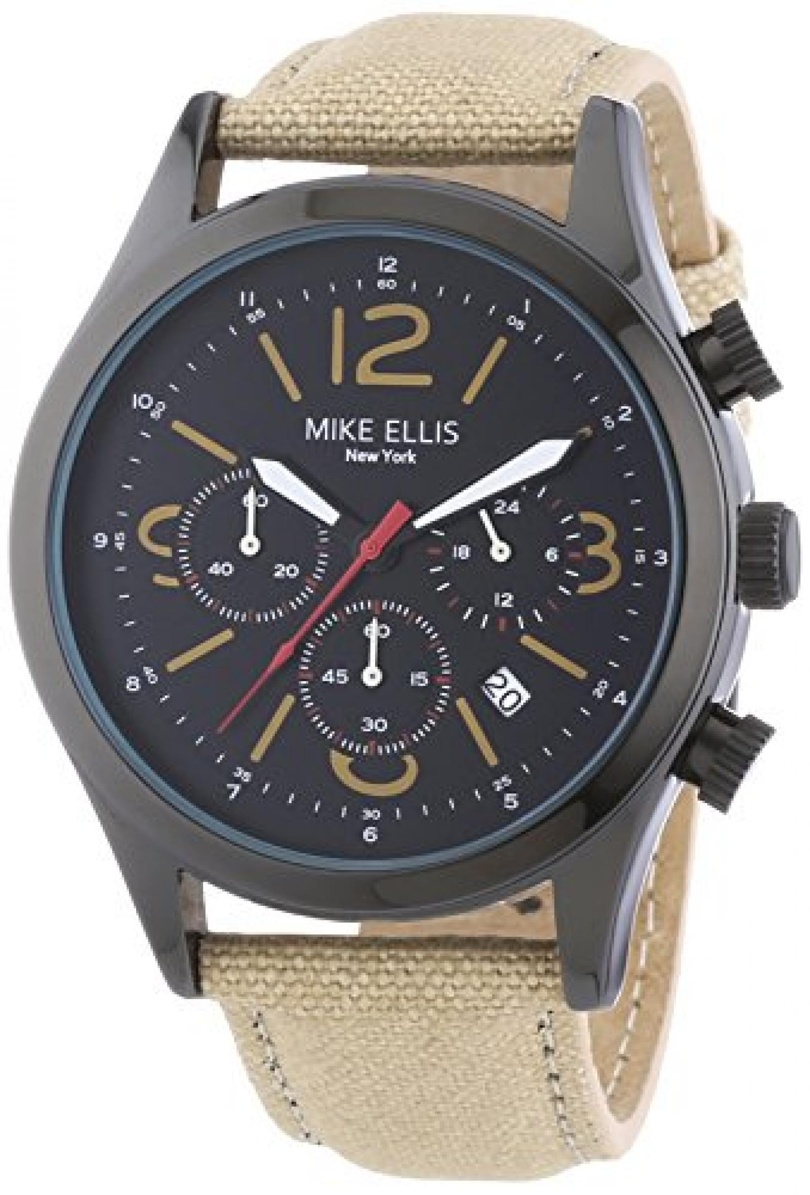 Mike Ellis New York Herren-Armbanduhr XL Desert Fox Chronograph Quarz Textil M2439B