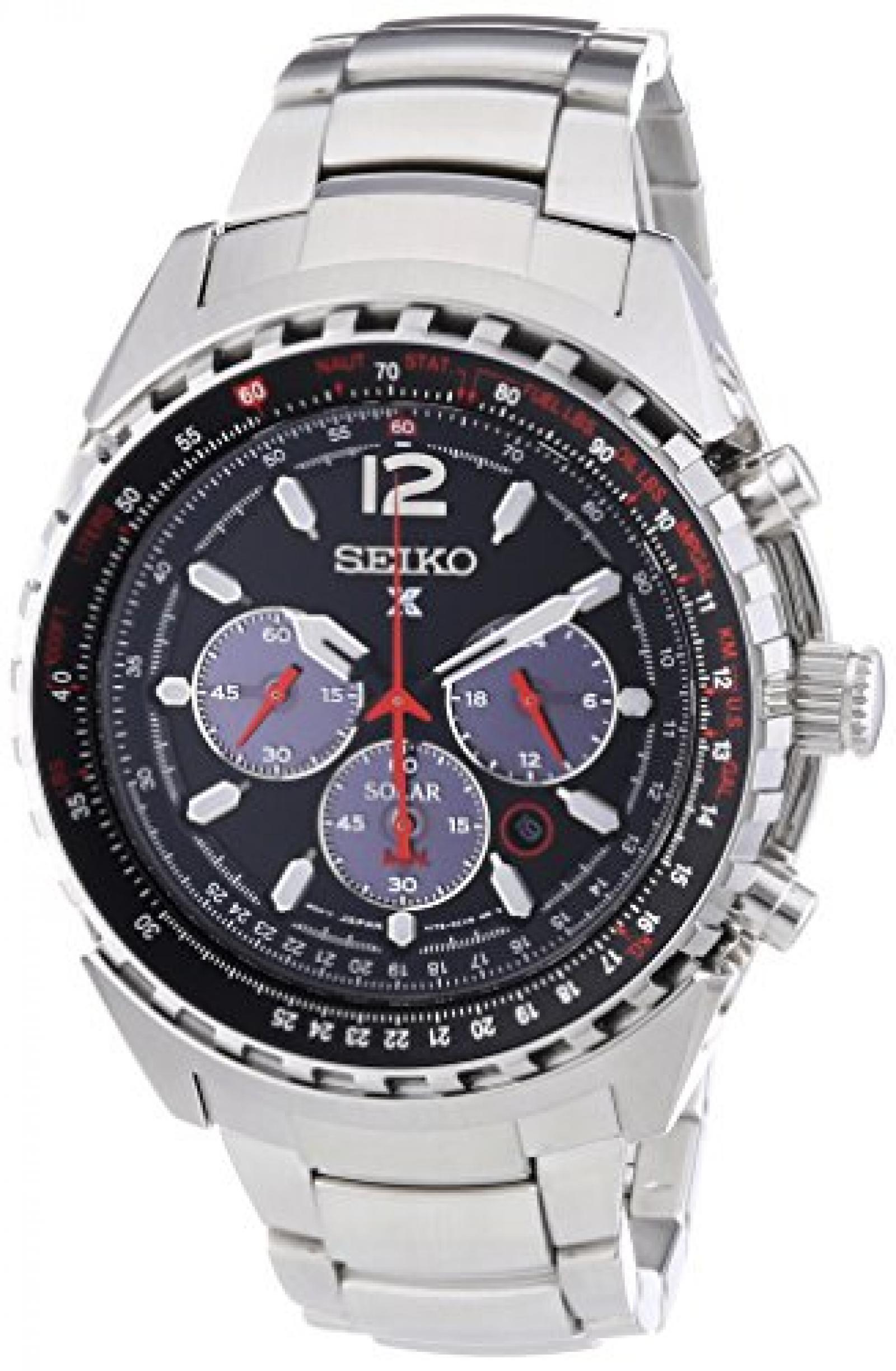 Seiko Herren-Armbanduhr XL Aviaton Solar Chronograph Quarz Edelstahl SSC261P1