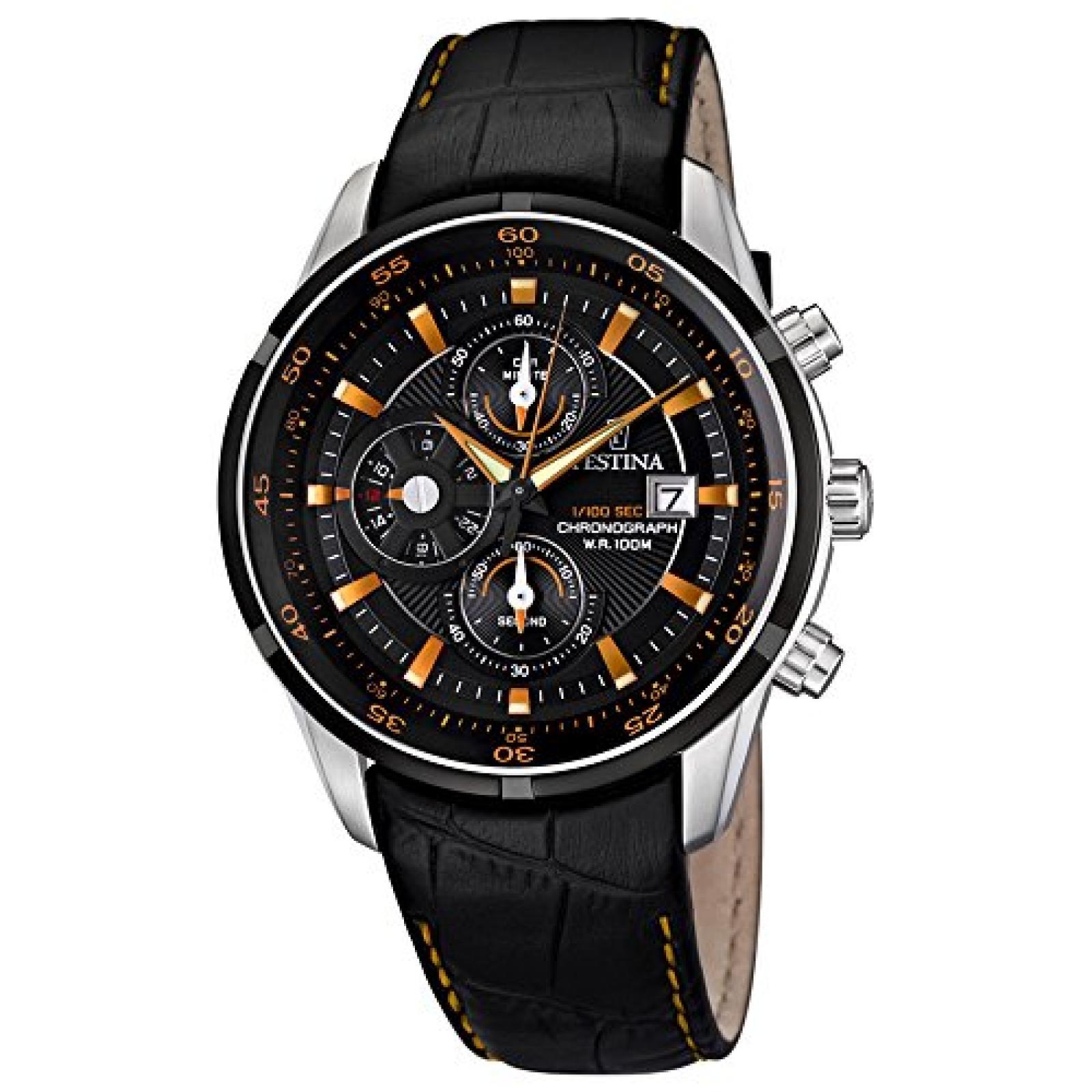 Festina Herren-Armbanduhr XL Analog Quarz Leder F6821/4