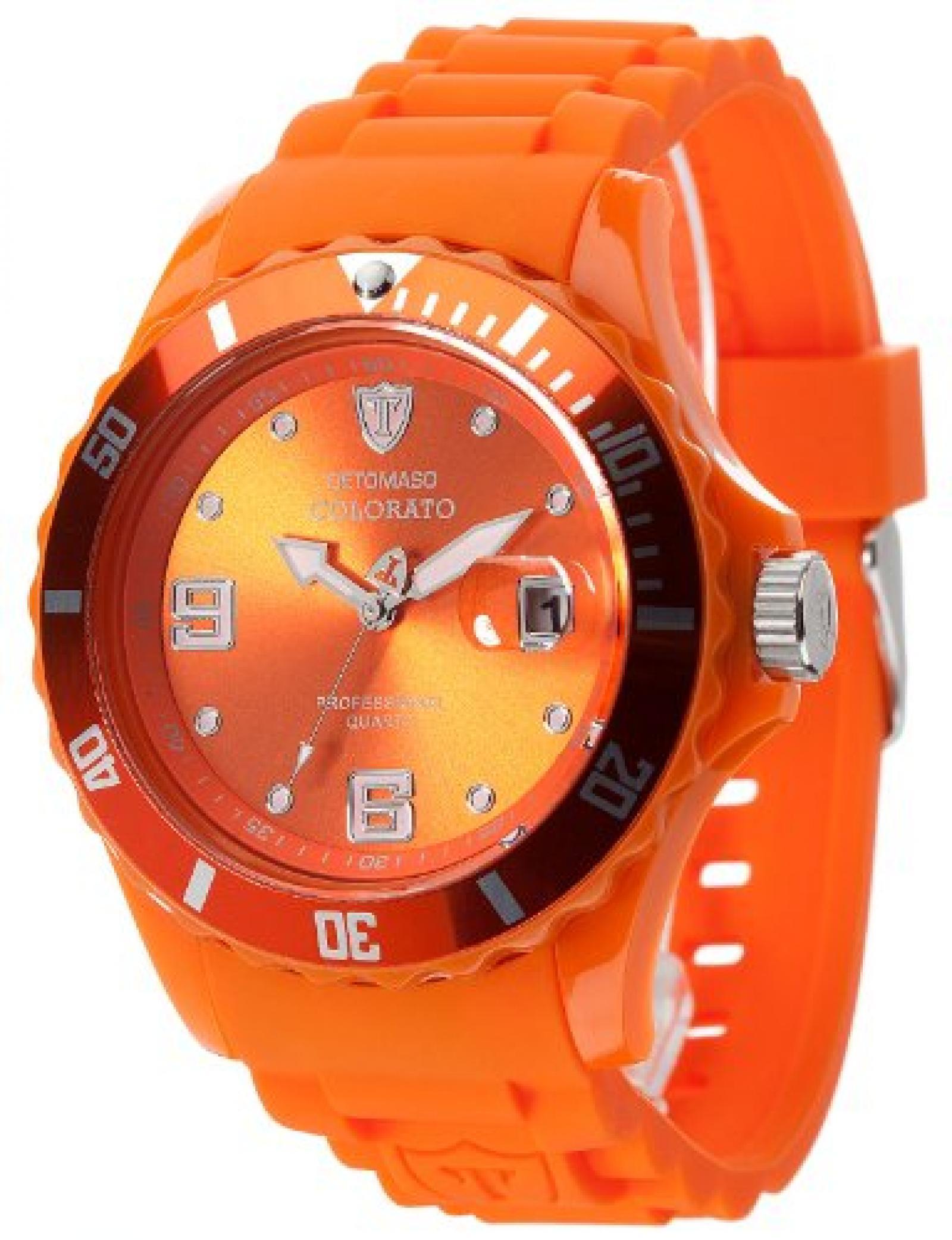 Detomaso Unisex-Armbanduhr COLORATO DATE Orange Trend Analog Quarz Silikon DT2028-F