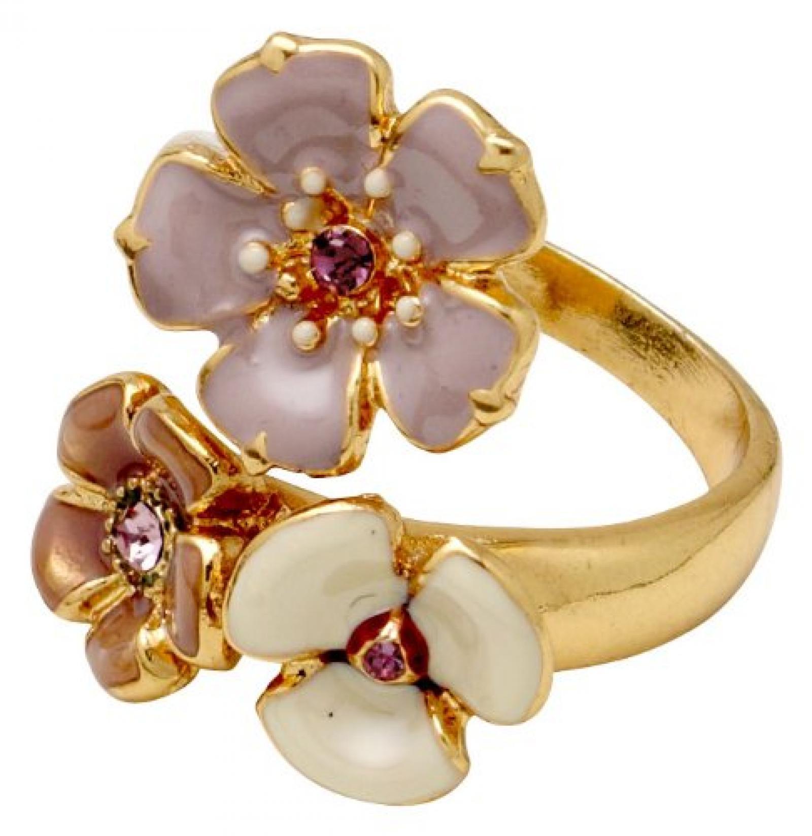 Pilgrim Jewelry Damen-Ring Messing Emaille Glaskristall Dearest violett Gr. 221342604