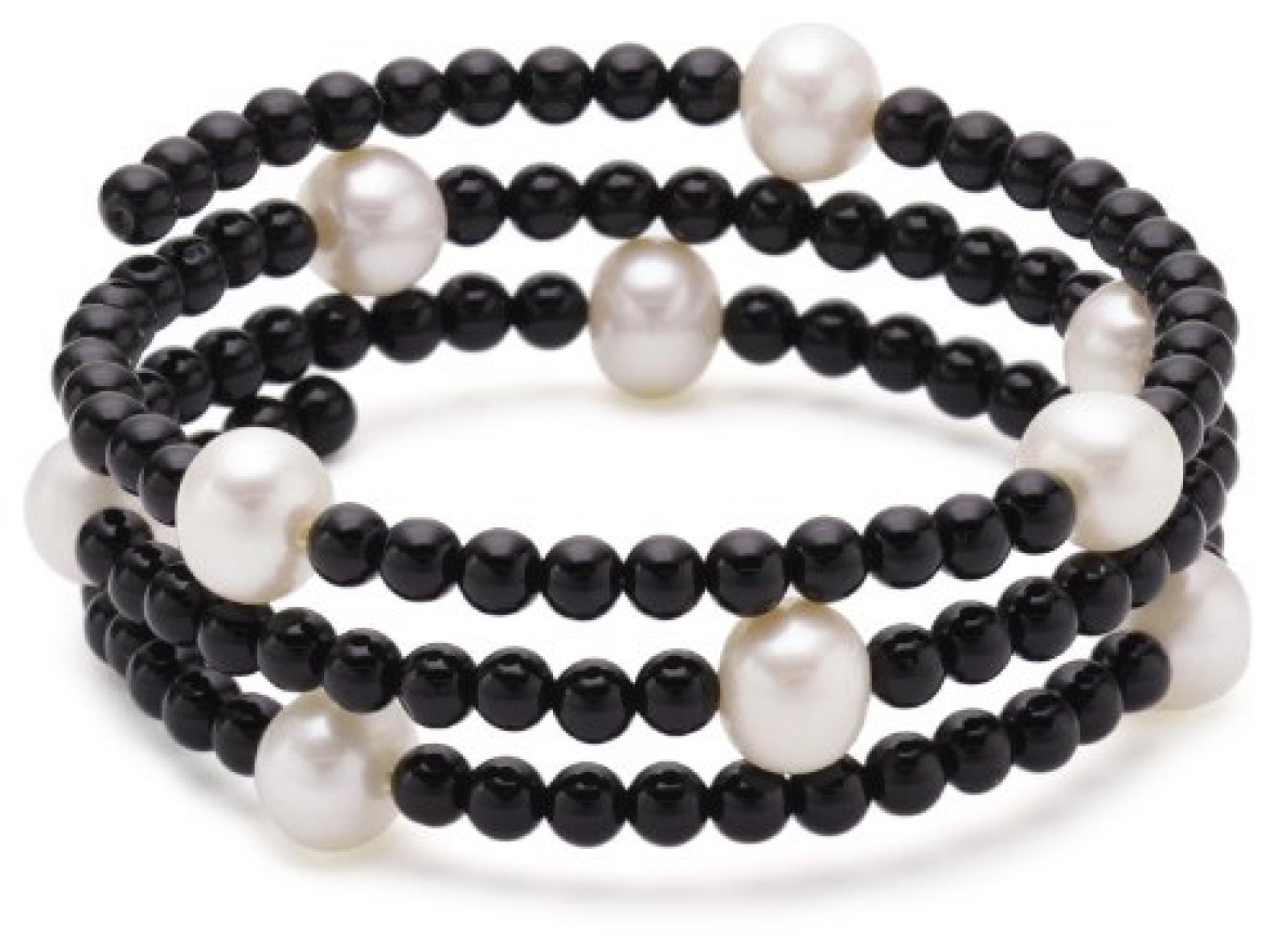 Valero Pearls Fashion Collection Damen-Armband elastisch Hochwertige Süßwasser-Zuchtperlen in ca.  8 mm Rund weiß    Onyx 50 cm   60200802