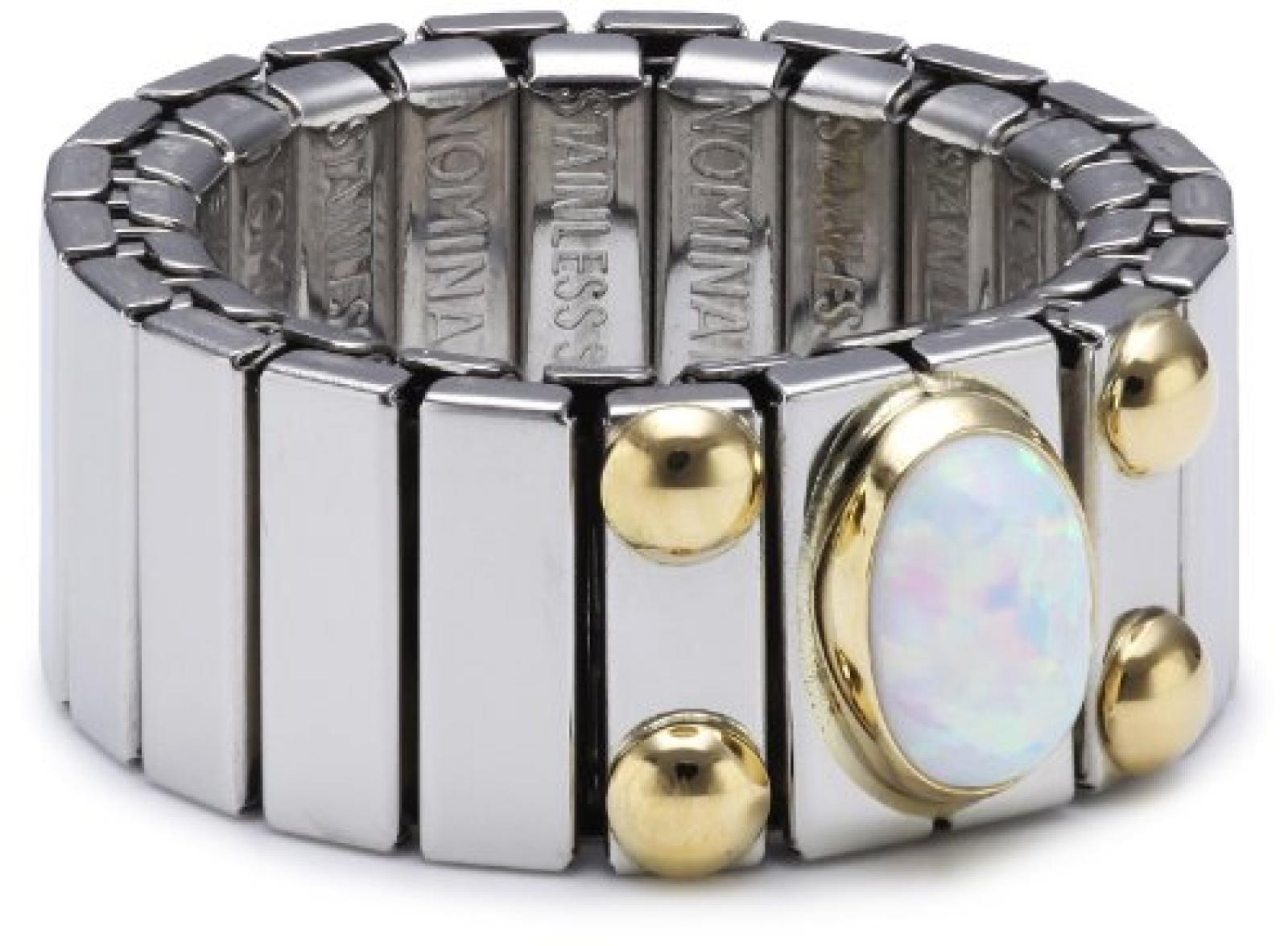 Nomination Damen-Ring Mittel Mit 1 in Opal Weiß Ring größe variabel 040120/007