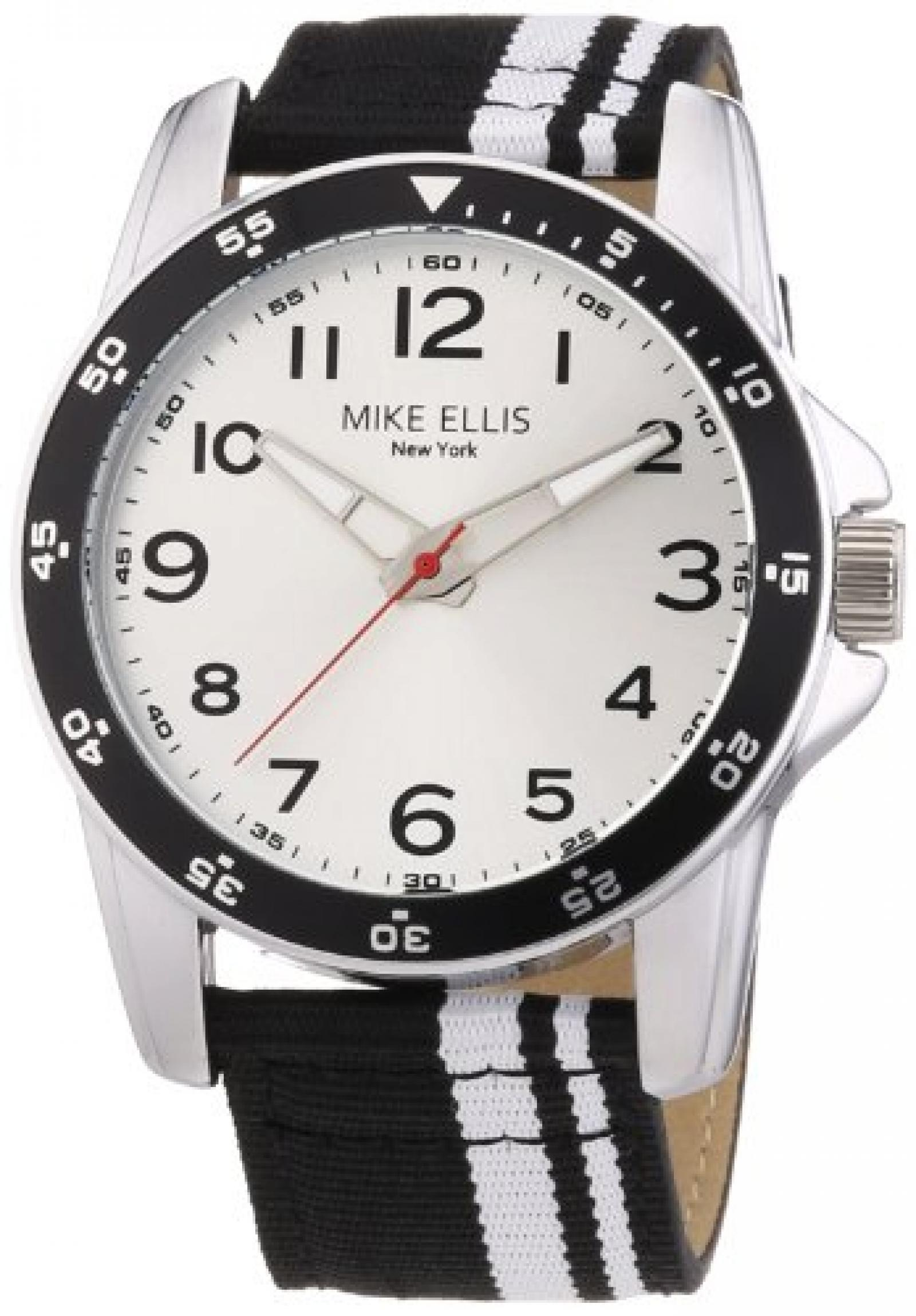 Mike Ellis New York Herren-Armbanduhr XL Analog Quarz Textil M3145/2