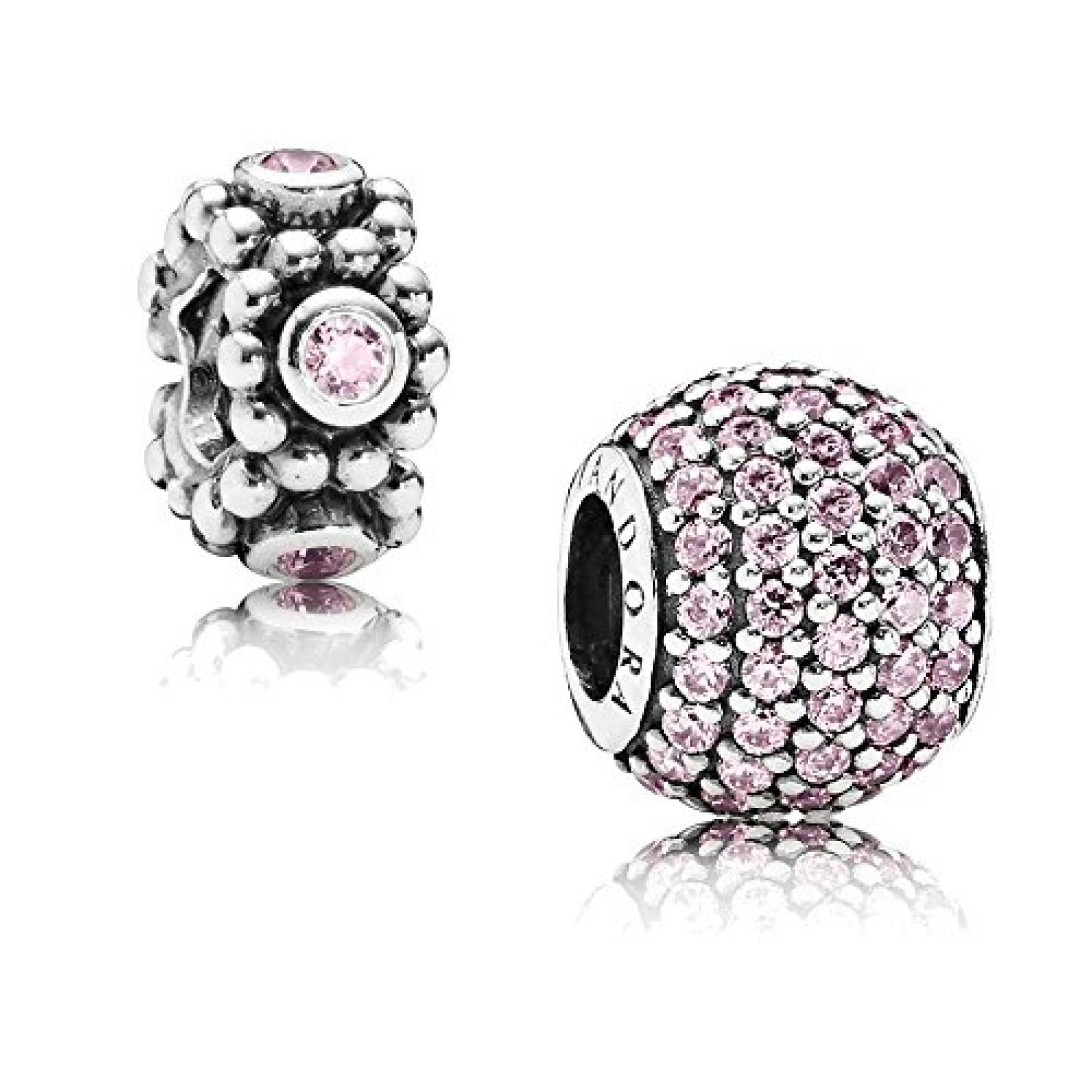 Original Pandora Geschenkset - 1 Silber Element Pavé Kugel mit rosafarbenem Zirkonia 791051PCZ und 1 Silber Zwischenelement Rosa Kreise mit rosafarbenem Zirkonia 791122PCZ