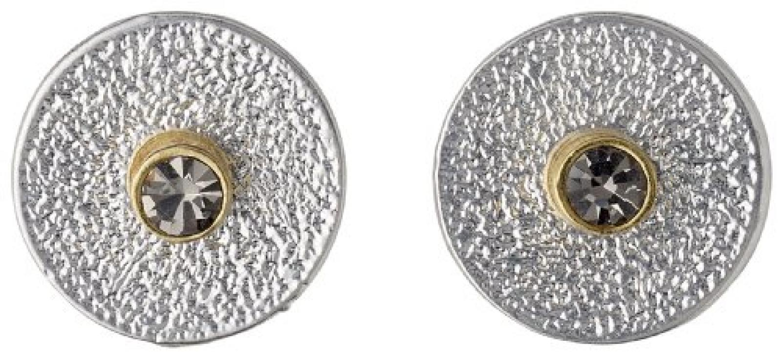 Pilgrim Jewelry Damen-Ohrstecker Messing Pilgrim Damen-Ohrstecker aus der Serie Disk post versilbert,grau 2 in 1 post earring ,1.2 cm in diameter cm 451336103