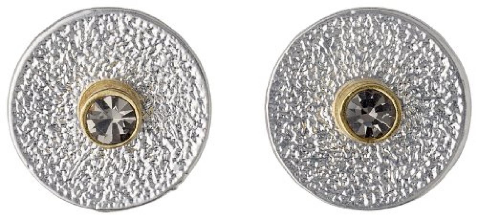 Pilgrim Jewelry Damen-Ohrstecker Messing Pilgrim Damen-Ohrstecker aus der Serie Disk post versilbert,grau 2 in 1 post earring ,1.2 cm in diameter cm 451336103