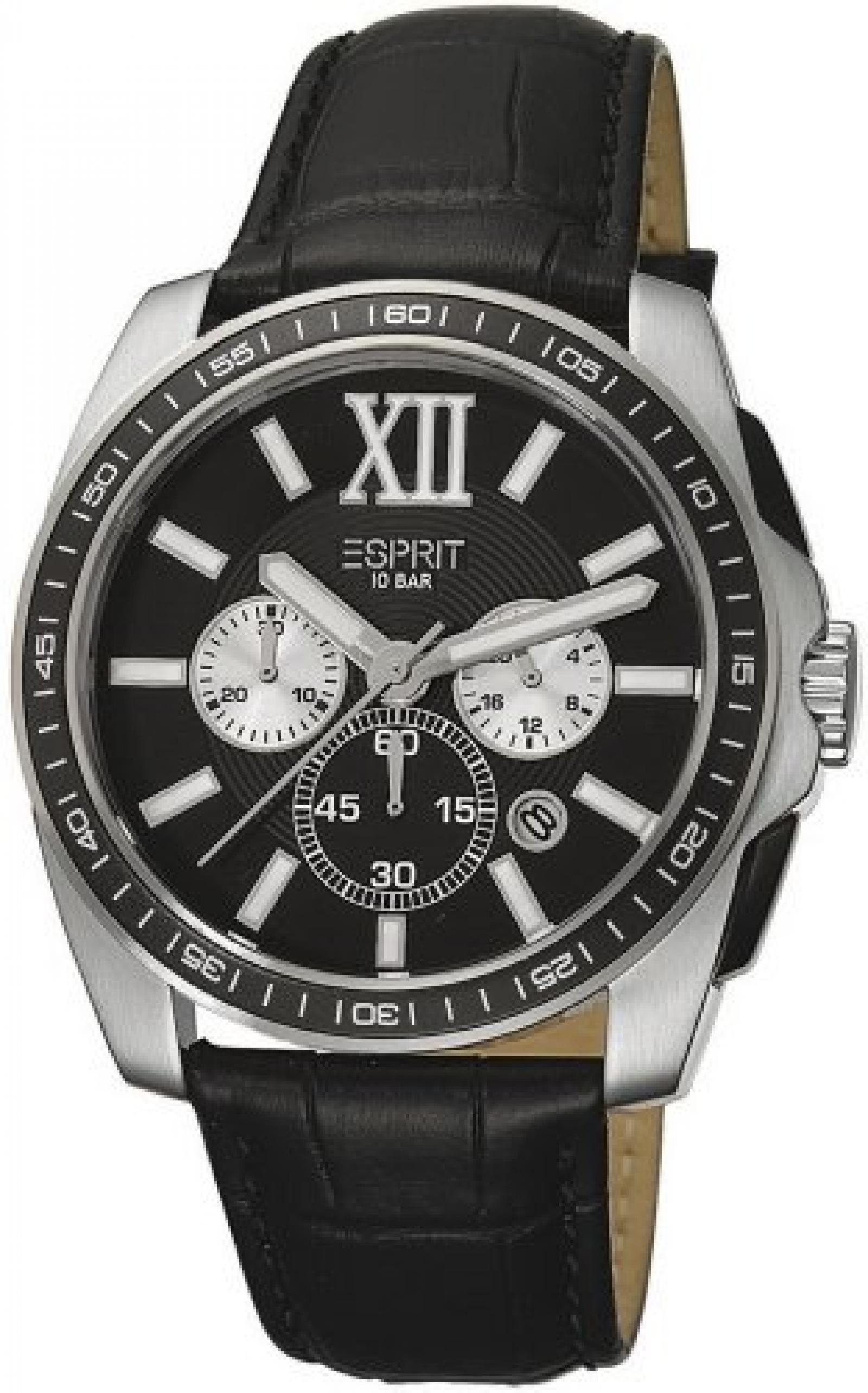 Esprit Herren-Armbanduhr XL Meridian Chronograph Quarz Leder ES103591001