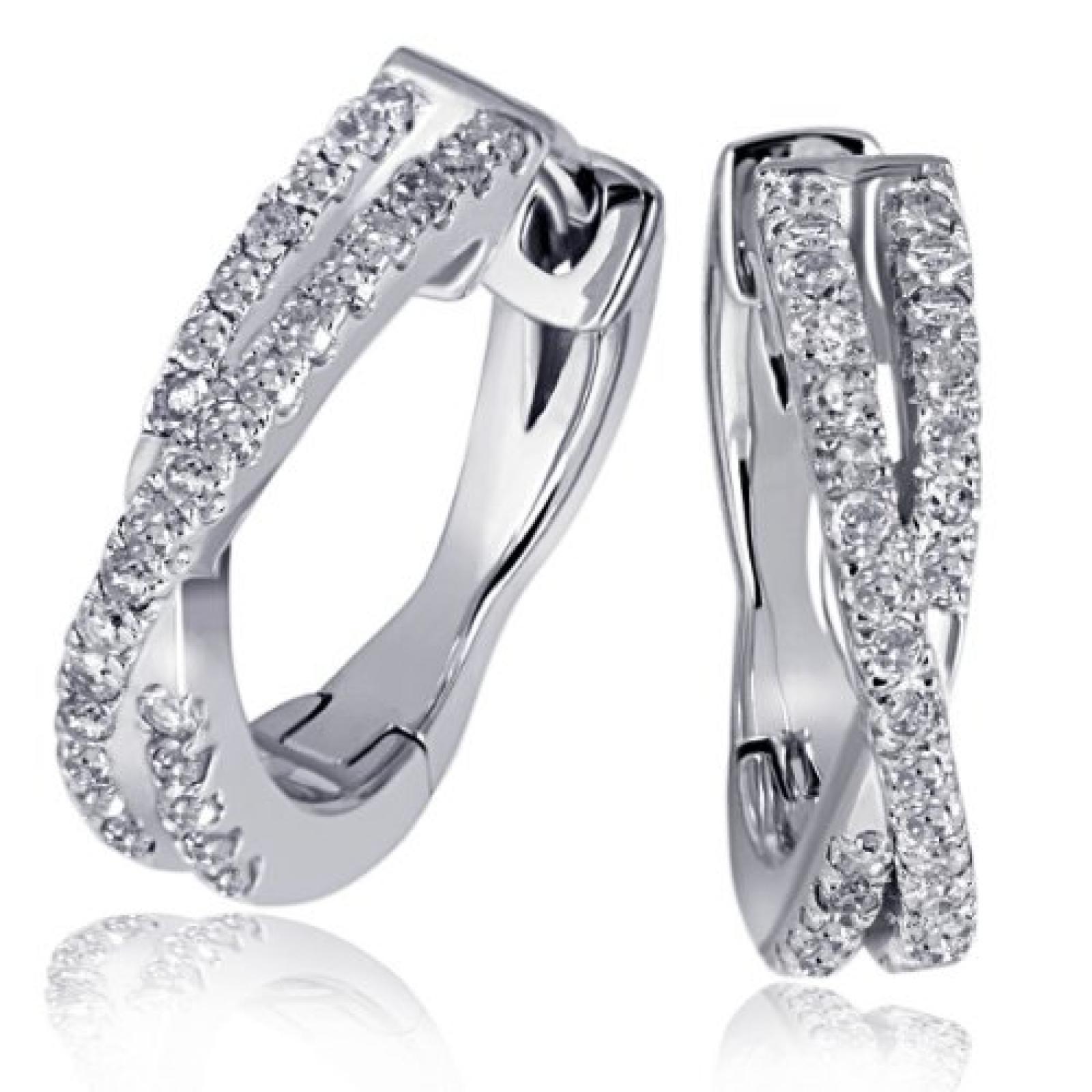 goldmaid Damen-Creolen Linien 585 Weißgold 60 Diamanten 0,24ct 13 mm Pa O5572WG