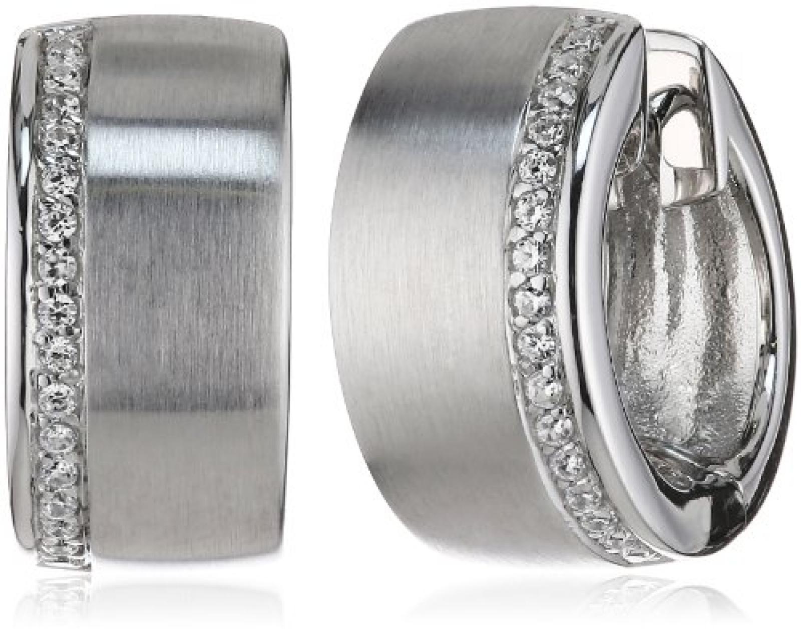 Viventy Damen-Creolen 925 Sterling Silber mit 32 Zirkonia in weiss 763254