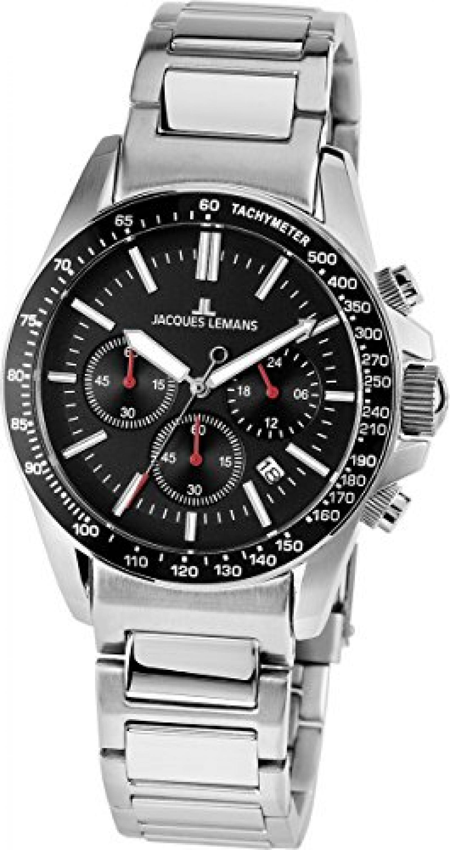 Jacques Lemans Herren-Armbanduhr XL Sport Liverpool Chronograph Quarz Edelstahl 1-1674A