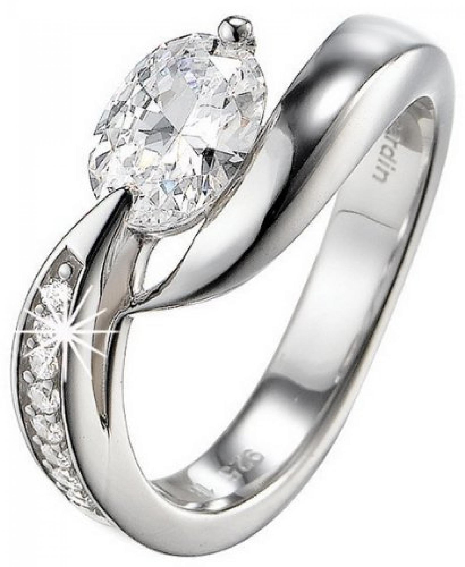 Pierre Cardin Damen-Ring 925 Sterling Silber rhodiniert Kristall Zirkonia Etoile filante weiß Gr.50 (15.9) PCRG90307A160