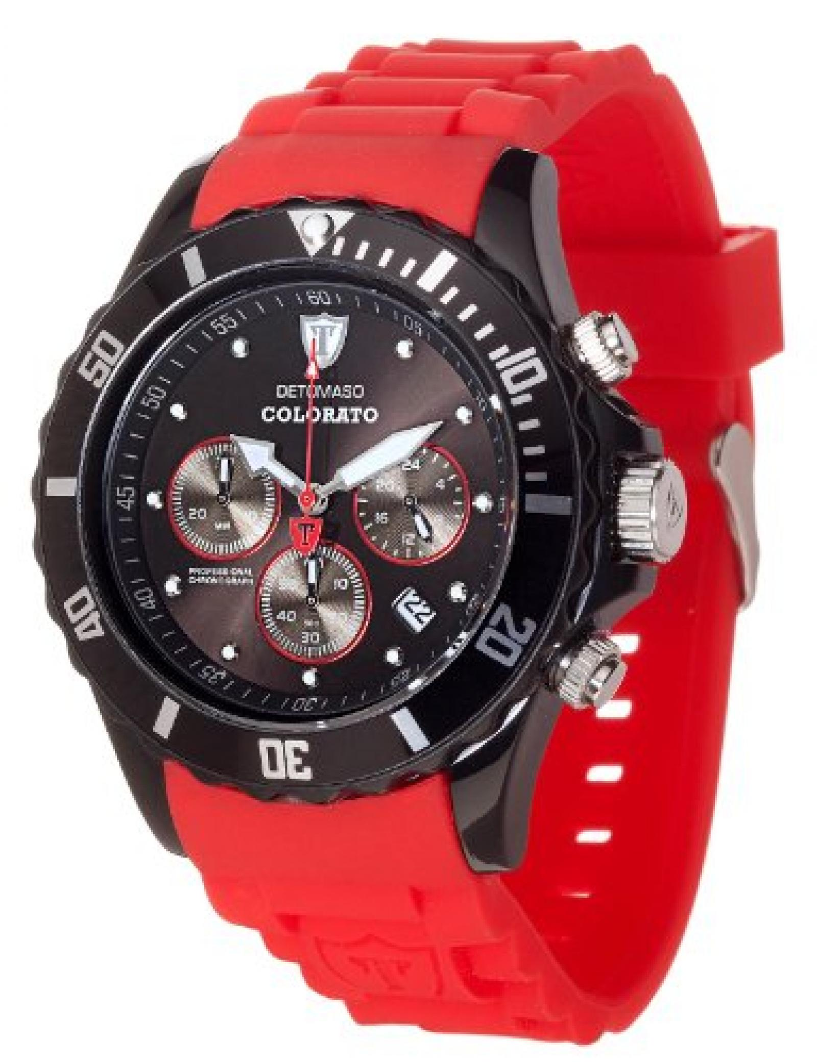Detomaso Unisex-Armbanduhr COLORATO CHRONO Black/Red Chronograph Quarz Silikon DT2019-B