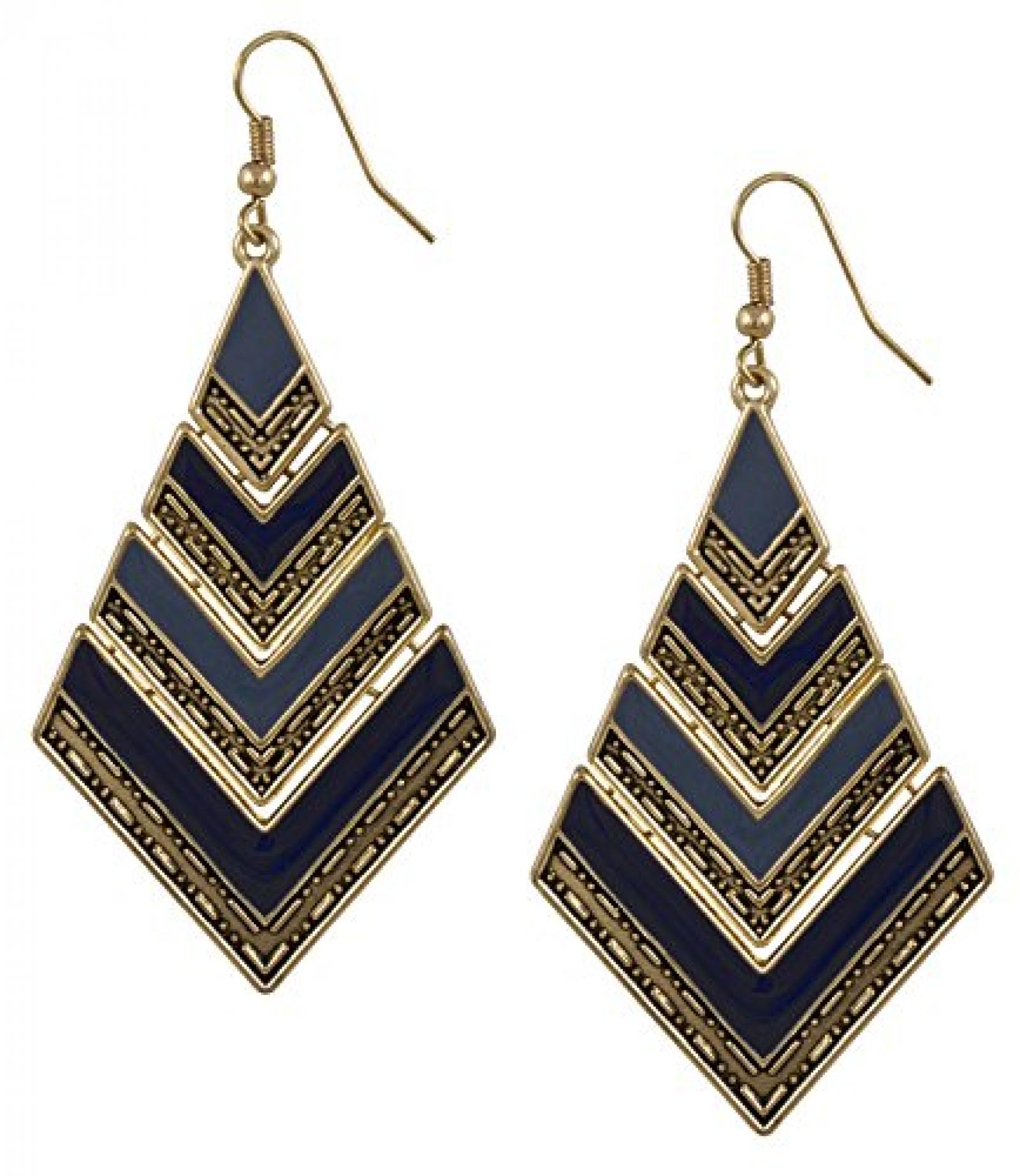 """SIX """"Ikat Blue"""" goldene Ohrhänger, eckige Glieder, blaue Beschichtung (398-168)"""