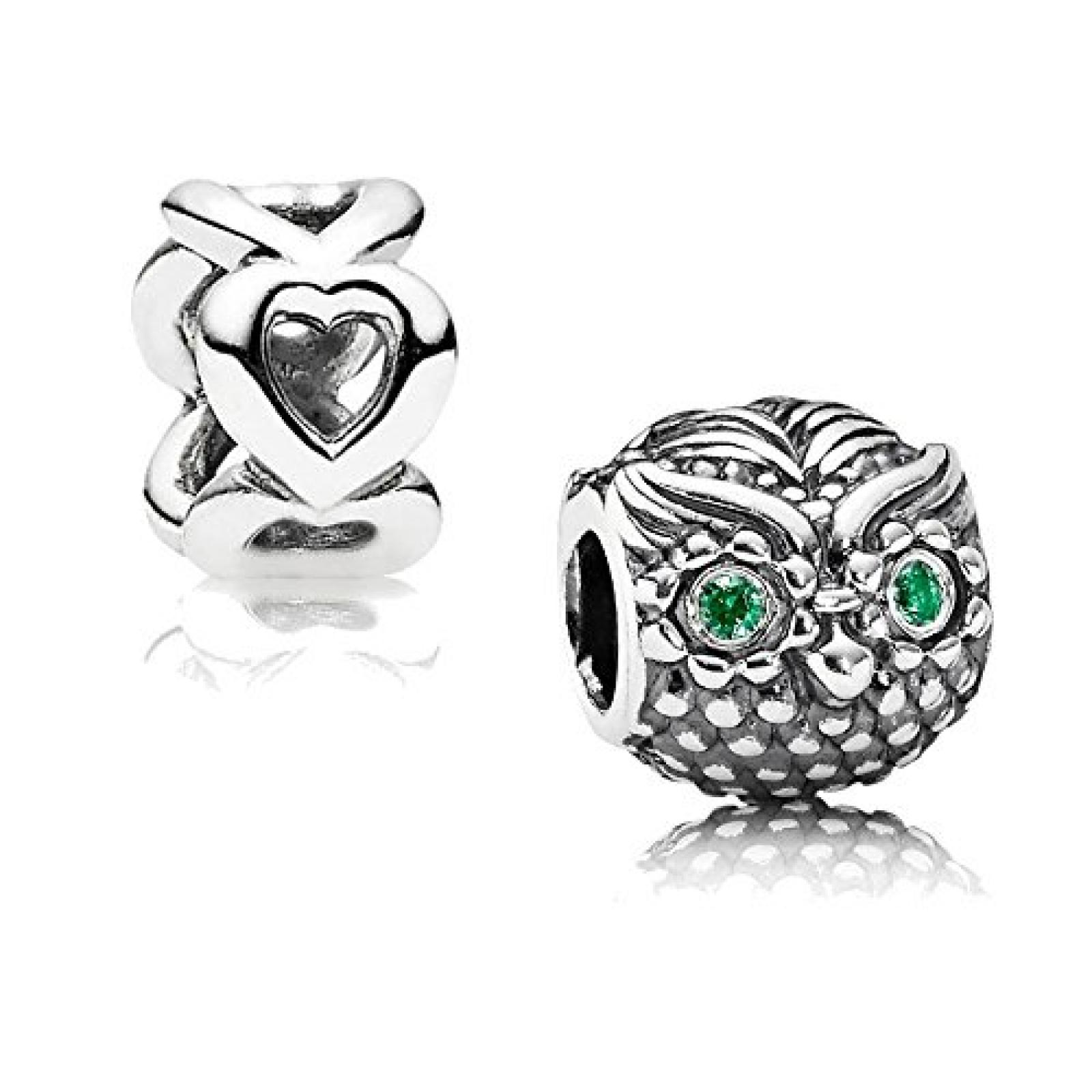 Original Pandora Geschenkset - 1 Silber Element Weise Eule mit grünem Zirkonia 791211CZN und 1 Silber Zwischenelement Offene Herzen 790454