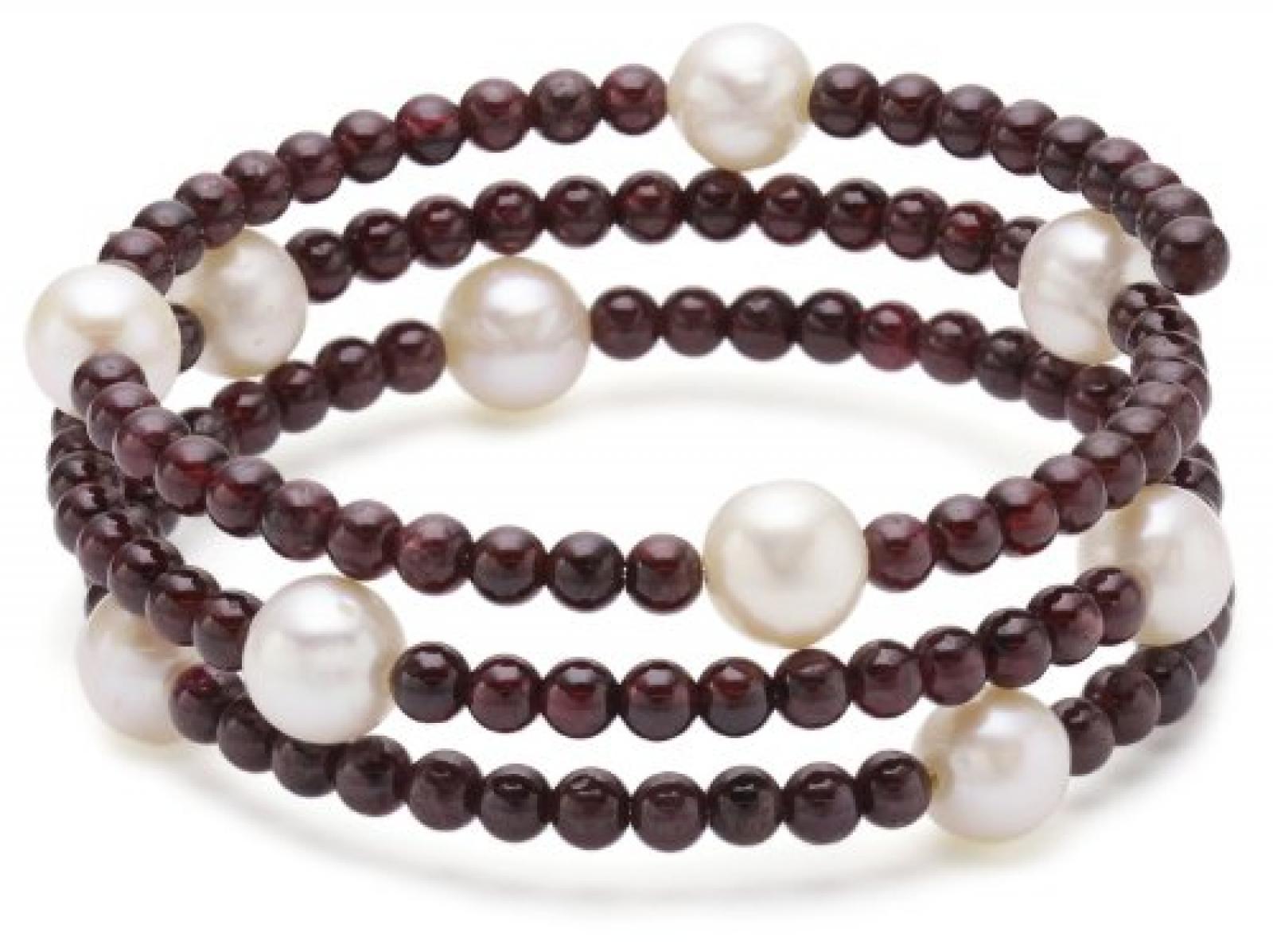 Valero Pearls Fashion Collection Damen-Armband elastisch Hochwertige Süßwasser-Zuchtperlen in ca.  8 mm Rund weiß    Granat 50 cm   60200804
