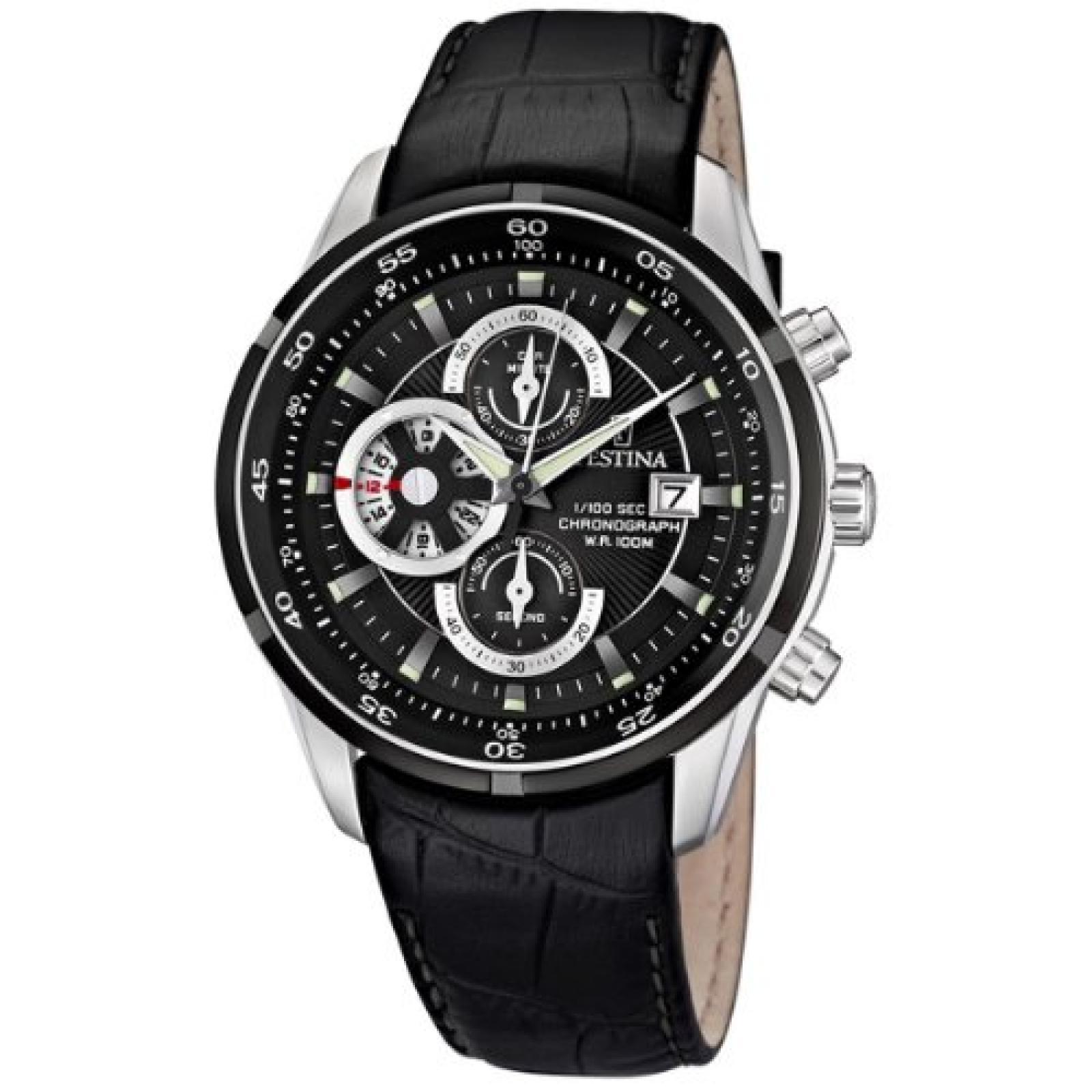 Festina Herren-Armbanduhr XL Analog Quarz Leder F6821/3