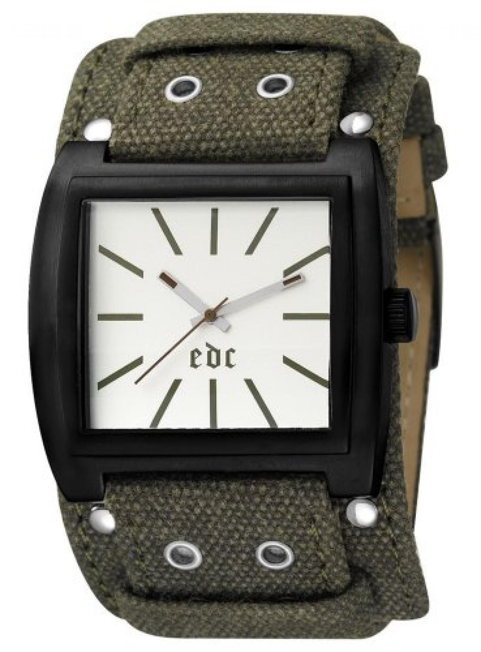 Edc Herren-Armbanduhr glorious hero - olive green Analog Quarz Leder EE100351002