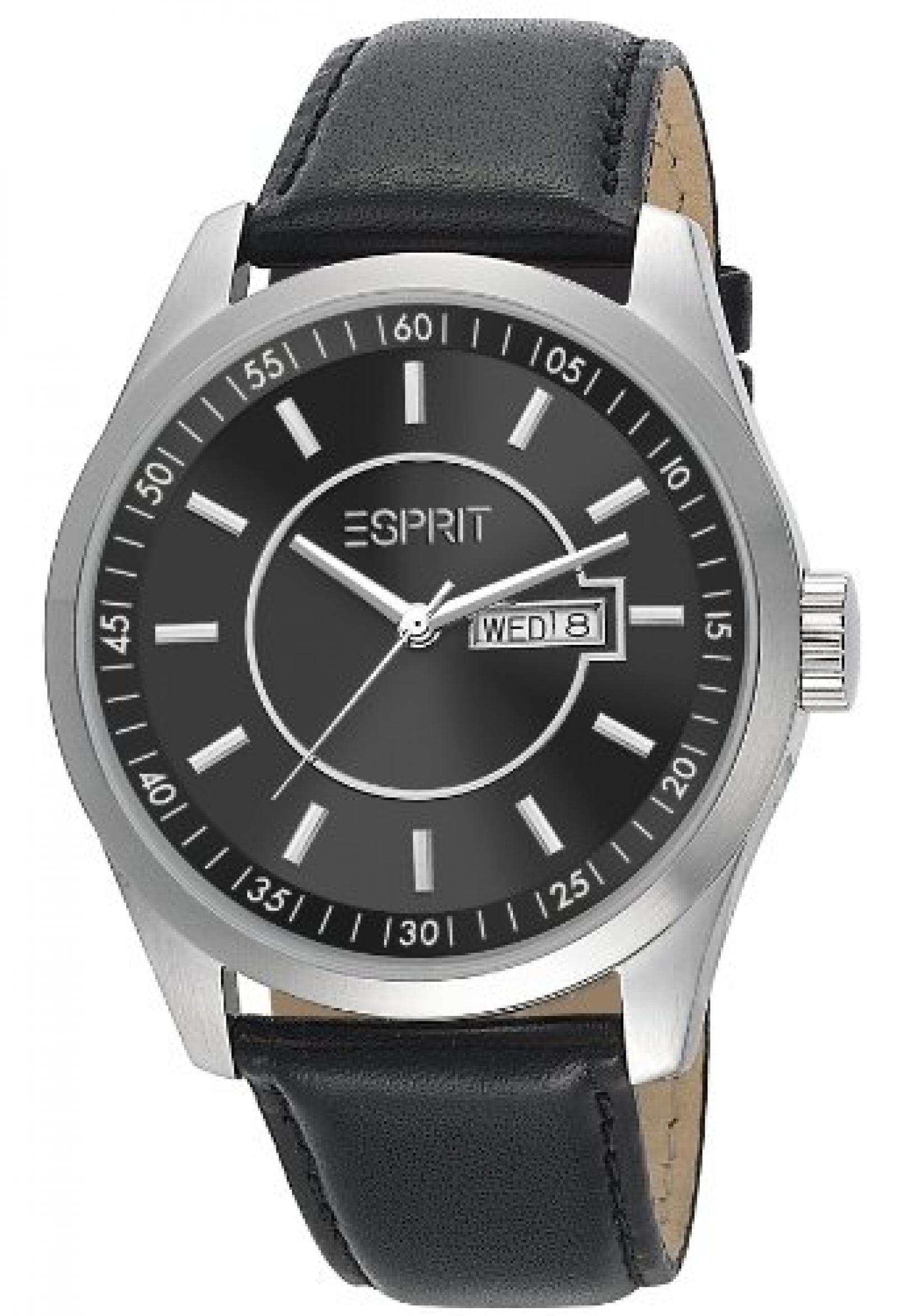 Esprit Herren-Armbanduhr XL Circolo Night Analog Quarz Leder ES104081001