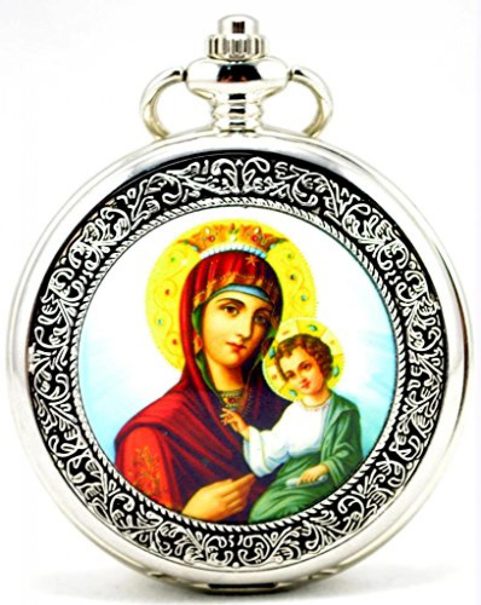 Unendlich U Vintage Die Virgin Maria und Jesus Christ Handaufzug mechanische Taschenuhr mit Skelett aus Stahl