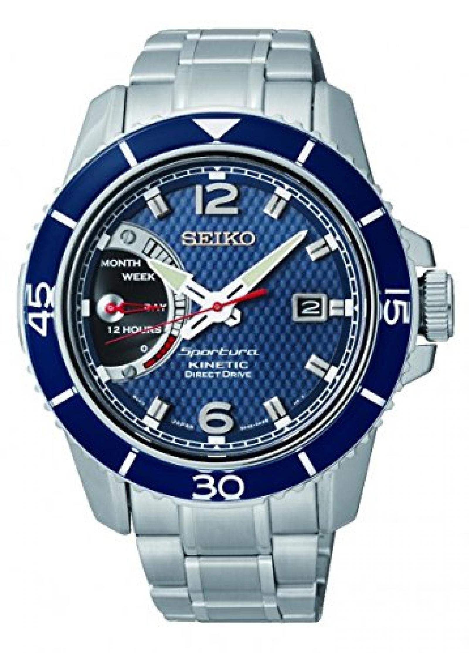 Seiko Herren-Armbanduhr XL Sportura Kinetic Analog Quarz Edelstahl SRG017P1
