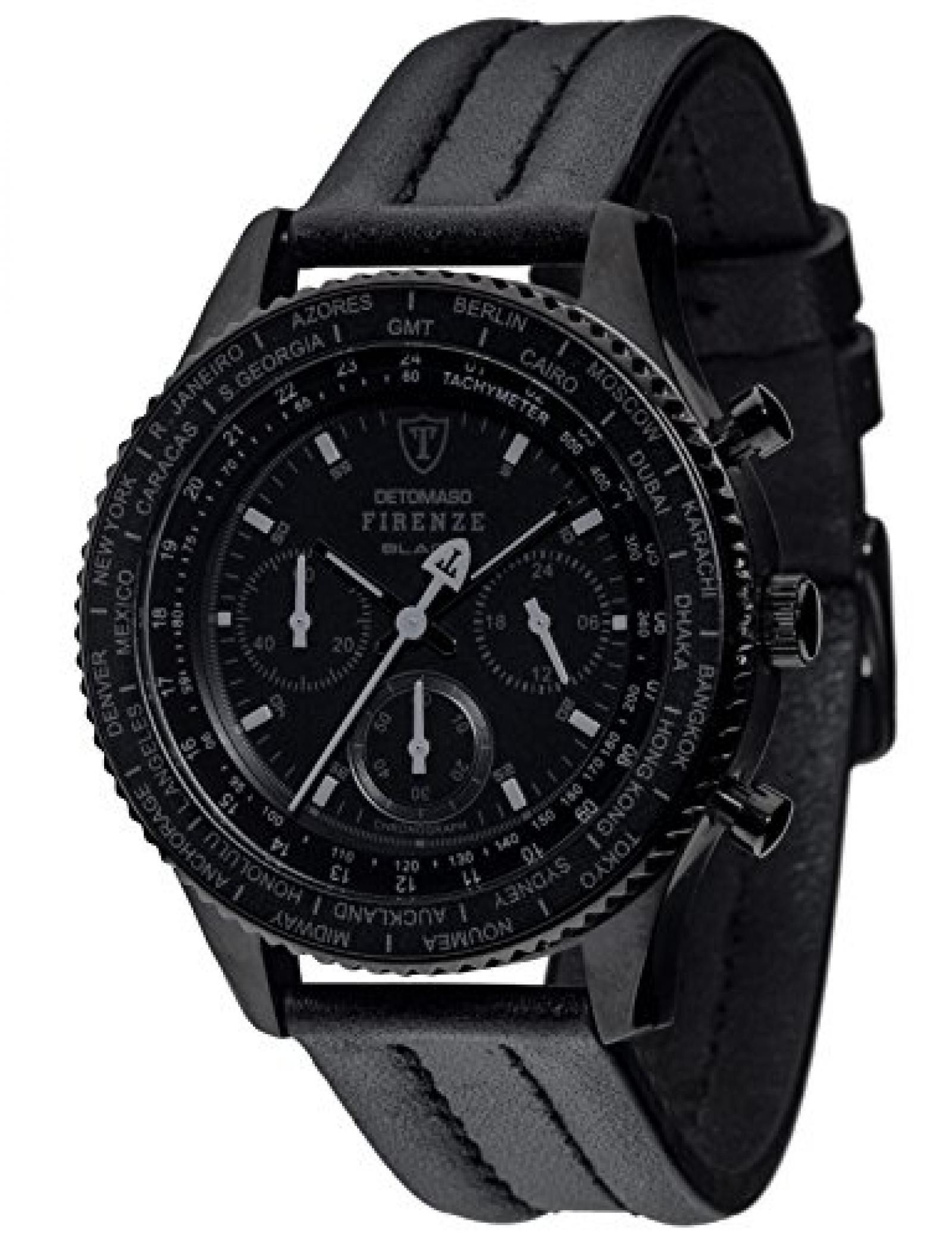 Detomaso Herren-Armbanduhr FIRENZE BLACK Chronograph Trend Quarz Leder DT1068-A