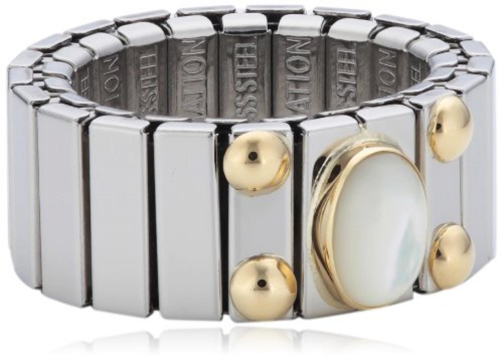 Nomination Damen-Ring Mittel Mit 1 in Perlmutt Weiß Ring größe variabel 040120/012