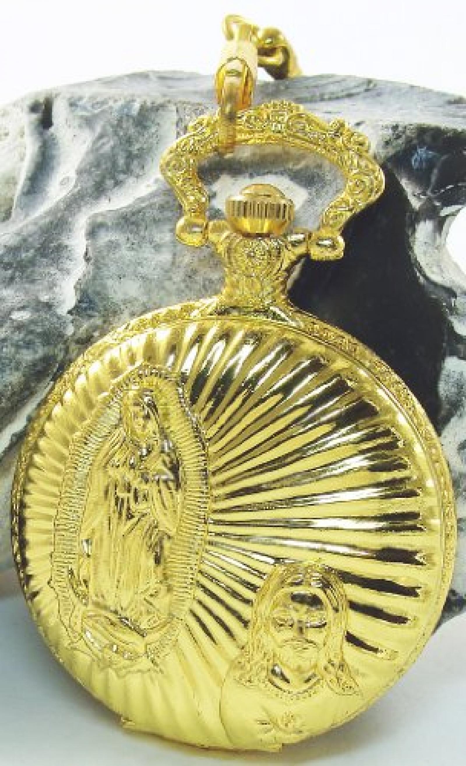 Classique Taschenuhr Weiß Gold + Ersatzbatterie Jesus Maria Christ Metall Analog Quarz Herrenuhr