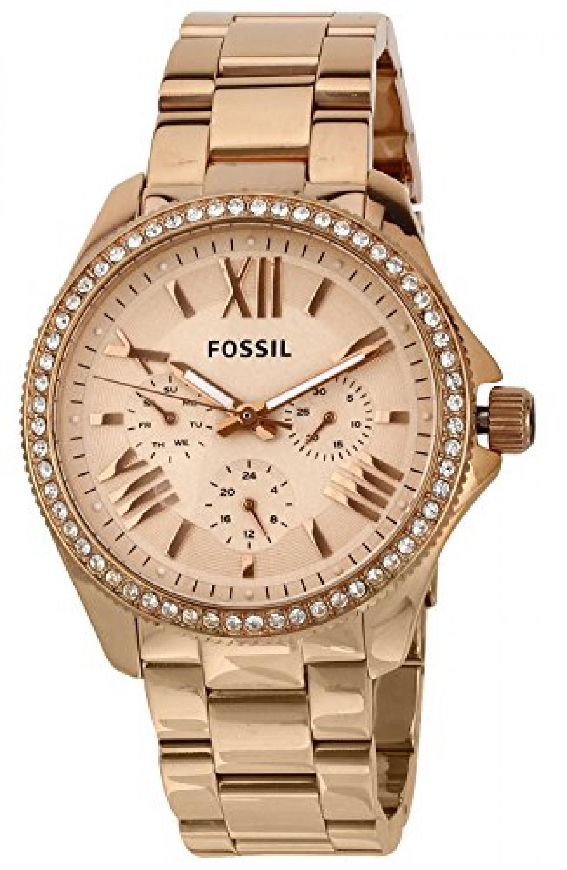 Fossil Damen-Armbanduhr Retro Traveler Analog Quarz Edelstahl beschichtet AM4483