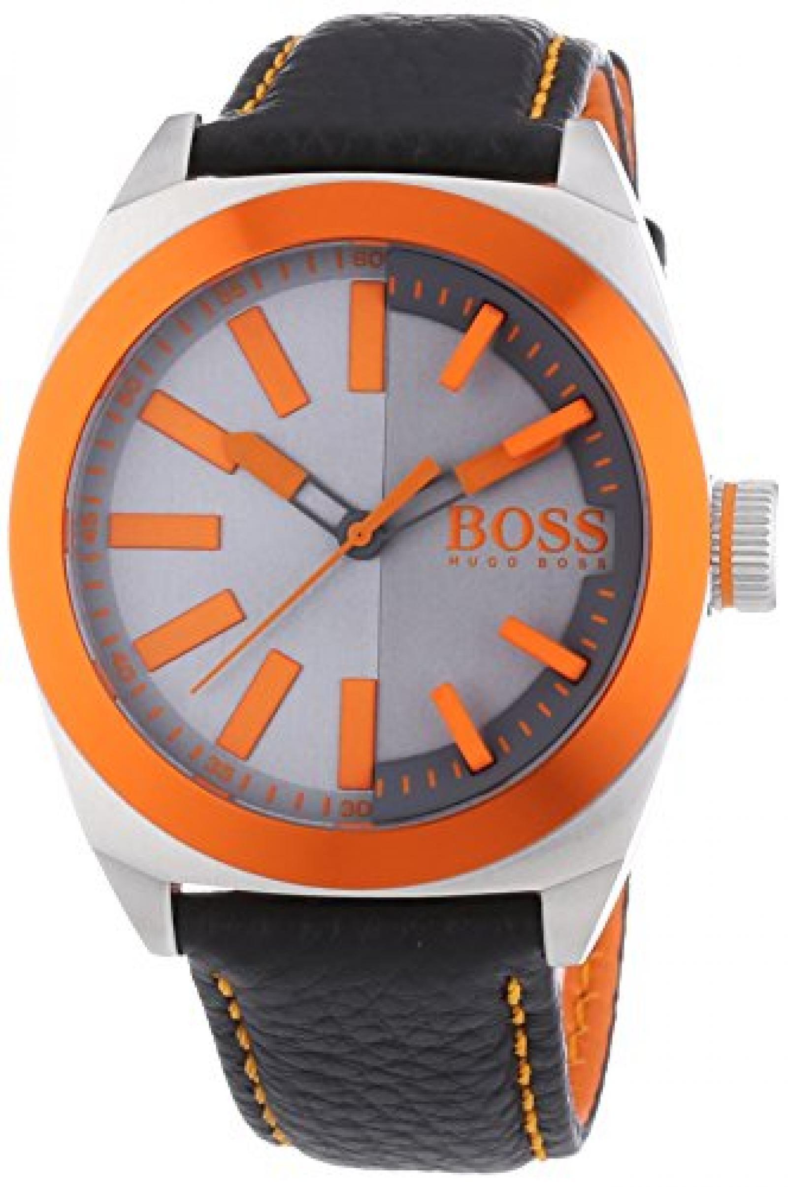 BOSS Orange Herren-Armbanduhr XL London Analog Quarz Leder 1513056
