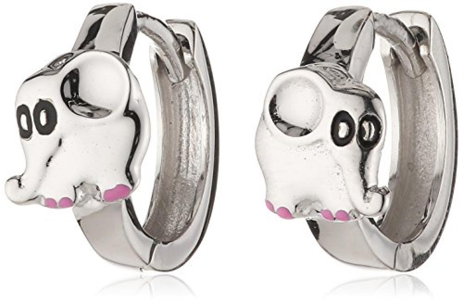 ZEEme Kinder und Jugendliche-Creolen 925 Sterling Silber Klapp Elefant glanz Lack pink/schwarz 139210020R