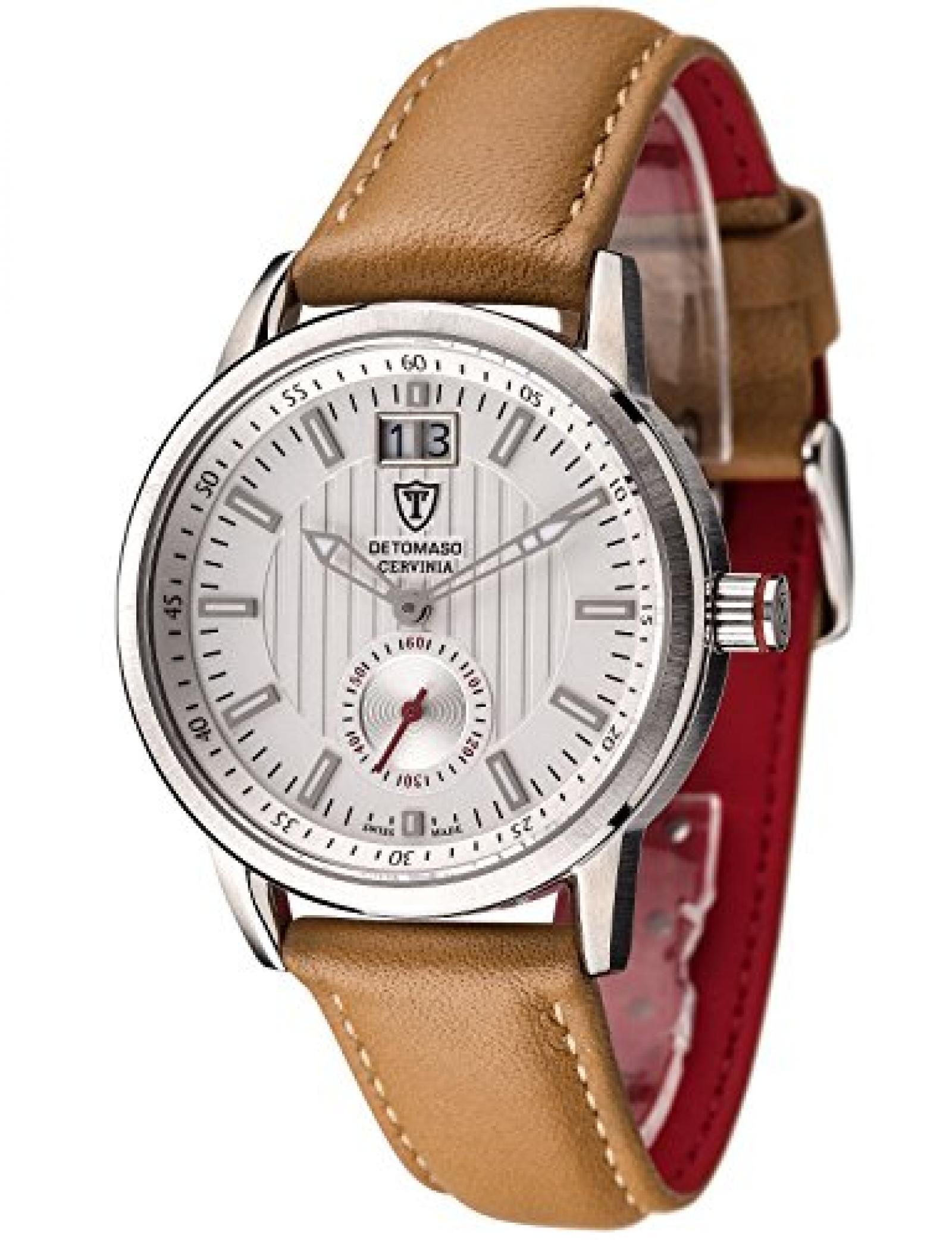 Detomaso Damen-Armbanduhr CERVINIA SWISS MADE Silber/Braun Ladies Analog Quarz Leder DT3023-D