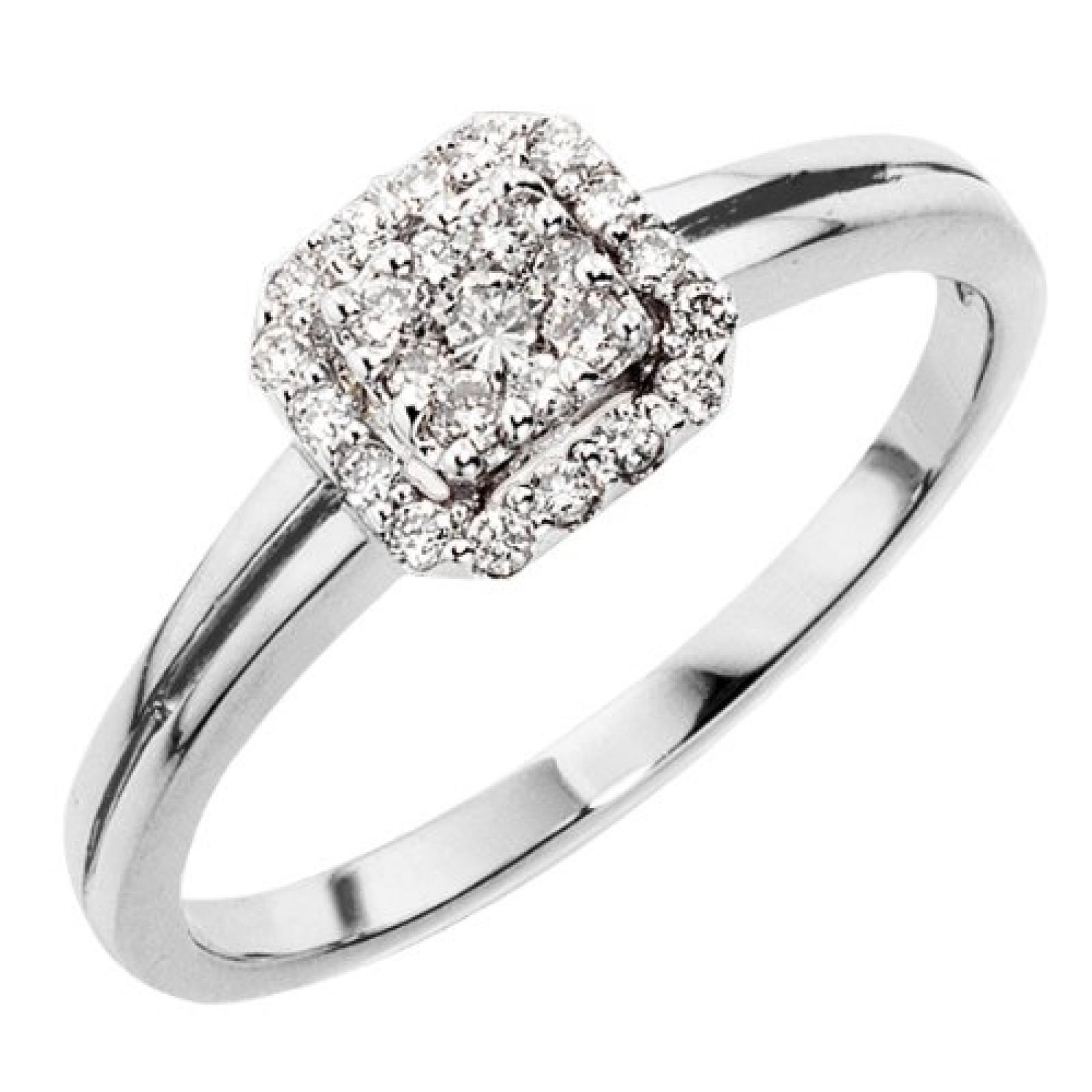 Goldmaid Damen-Ring 18 Karat 750 Weißgold Glamourfassung 25 Brillanten 0,25 ct. Pa R3630WG750