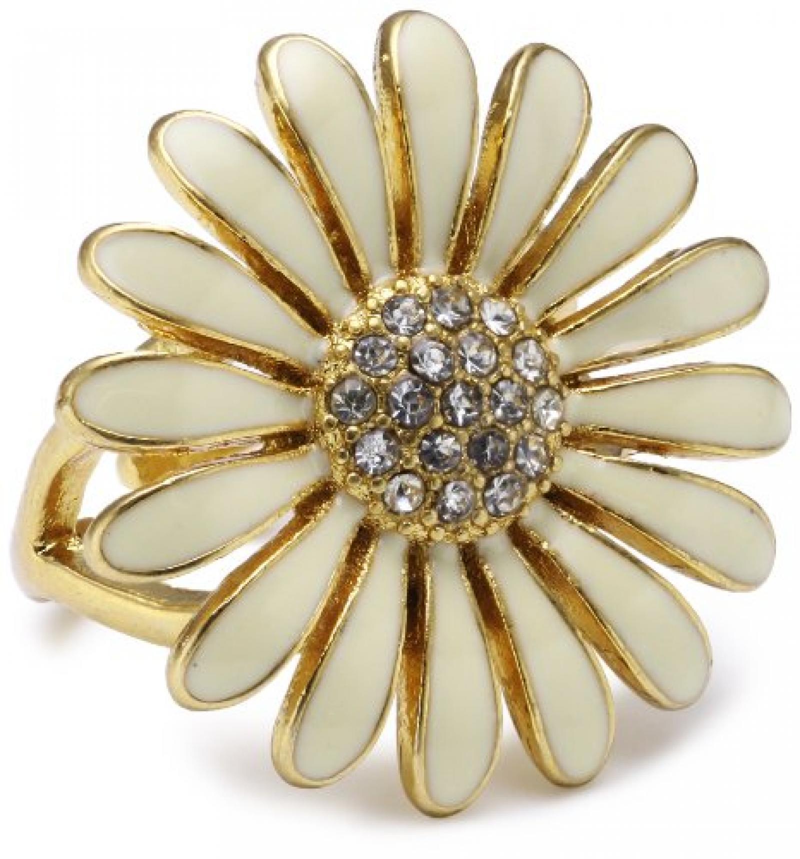 Pilgrim Jewelry Damen-Ring Blume vergoldet weiss 2.6 cm verstellbar Gr. 51-59 171312004