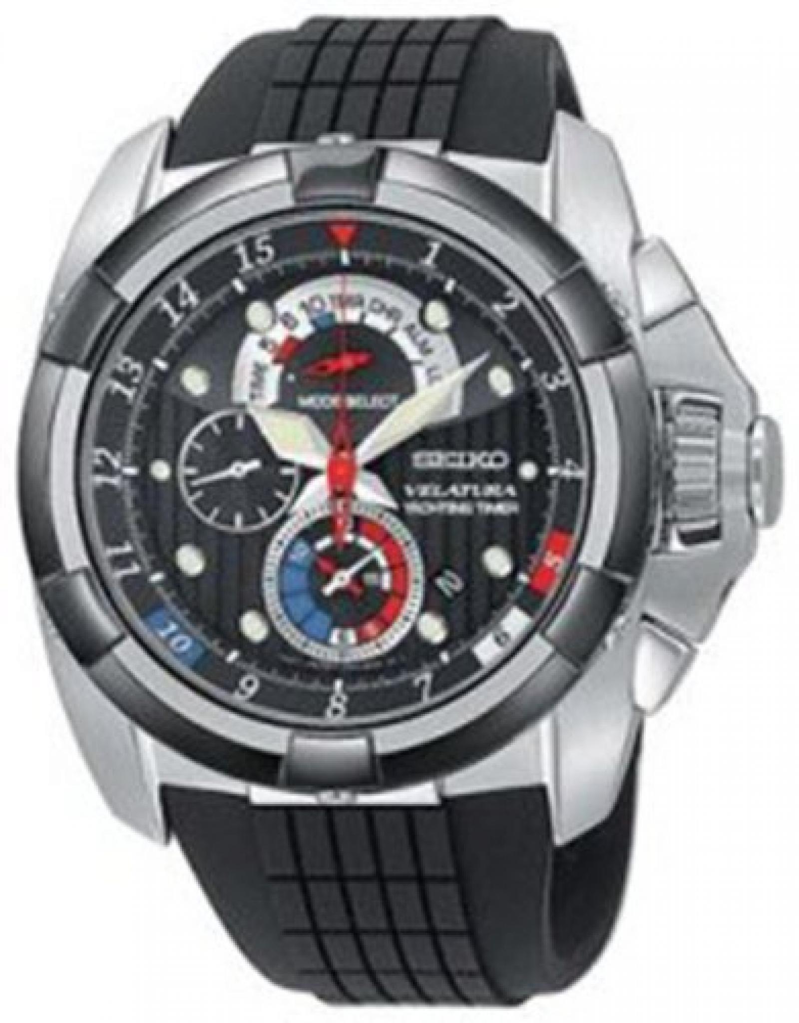 Seiko Damen-Armbanduhr Analog Gummi Schwarz SPC007