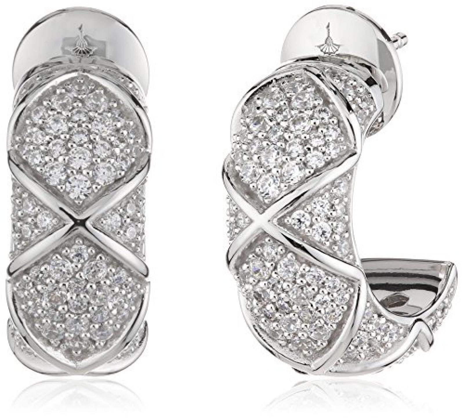 Joop Damen-Creolen 925 Sterling Silber Zirkonia Mosaics weiß JPER90306A000