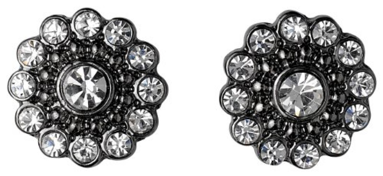 Pilgrim Jewelry Damen-Ohrstecker Messing Kristall Ear post 1.0 cm  weiß 281343013