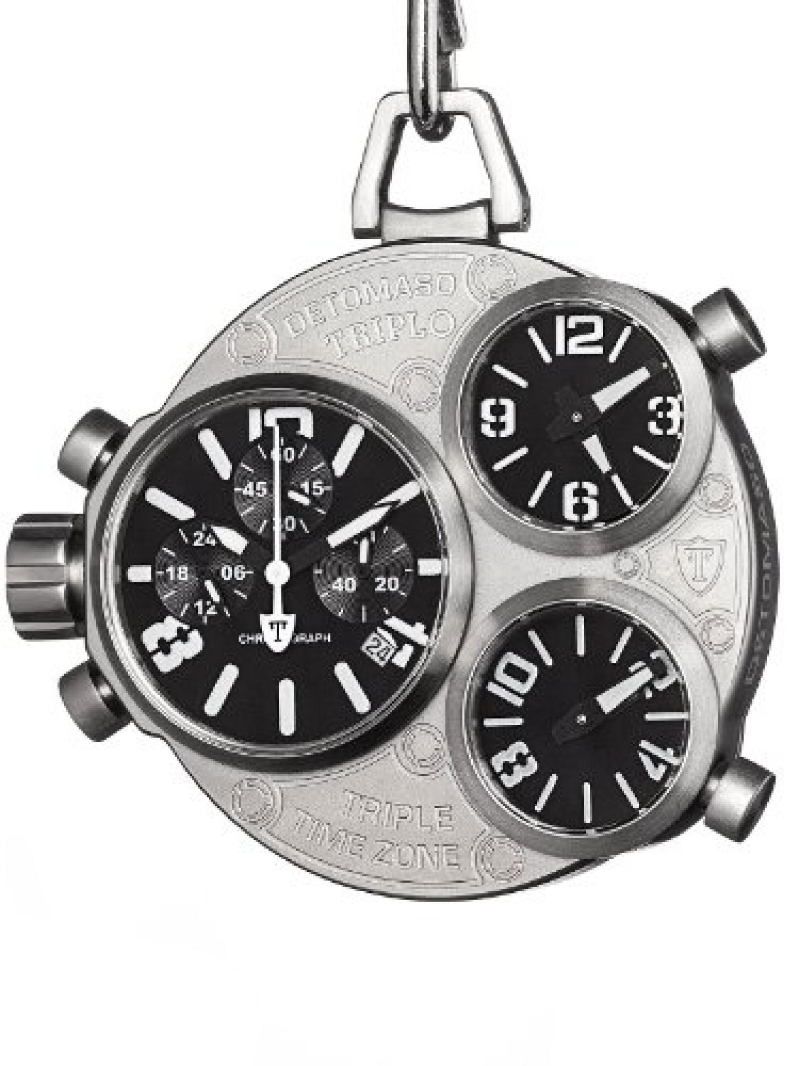 Detomaso Herren-Armbanduhr XL TRIPLO POCKET Taschenuhr Silver Chronograph Quarz DT2038-D