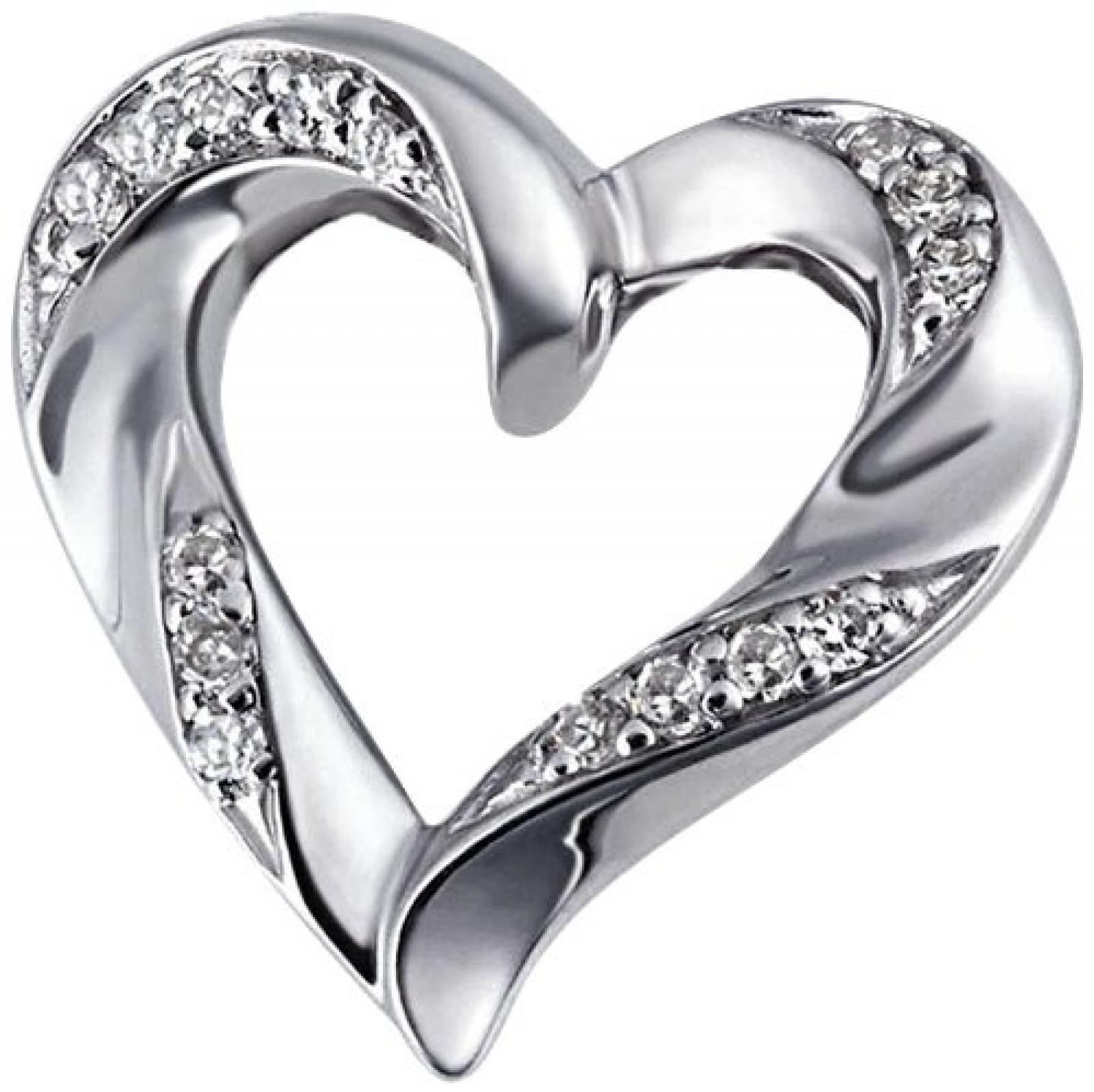Goldmaid Damen-Anhänger 9 Karat 375 Weißgold Herz Hochglanz 15 Diamanten SI/H 0,08 ct. He A6335WG