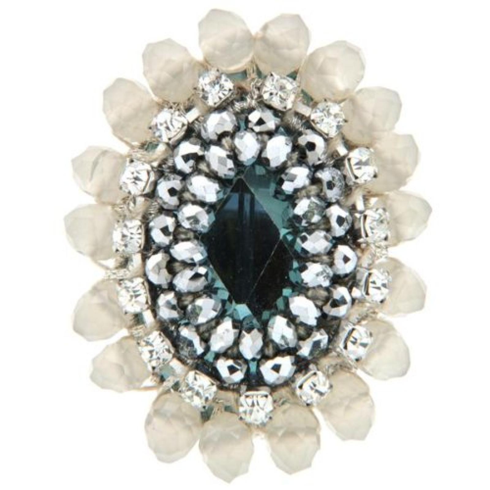 Sweet Deluxe Damen-Ring Metall rhodiniert Glas limette/Grau Gr. 2747