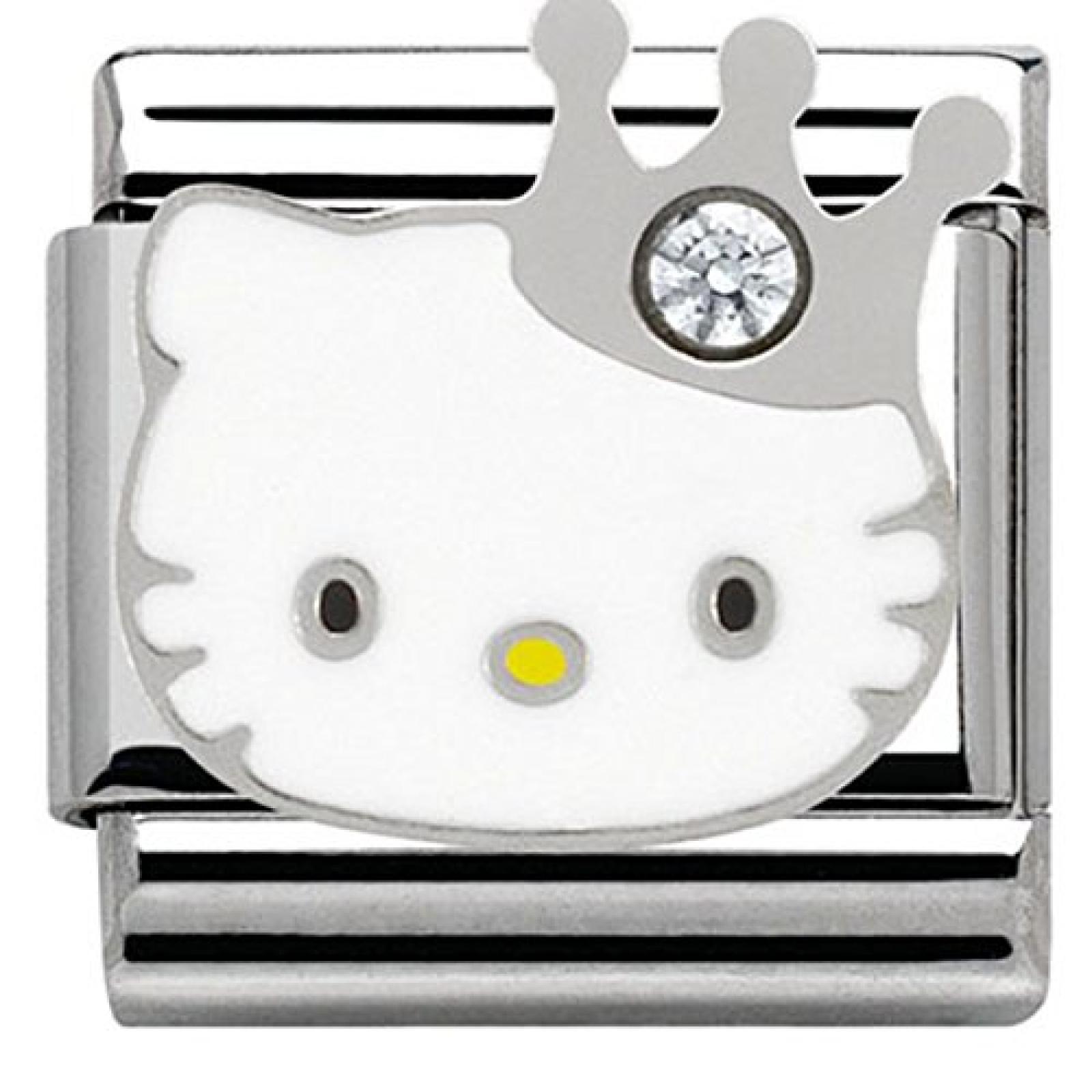 Nomination Damen-Charm Hello Kitty Krone Edelstahl Emaille Glas weiß - 230290/10