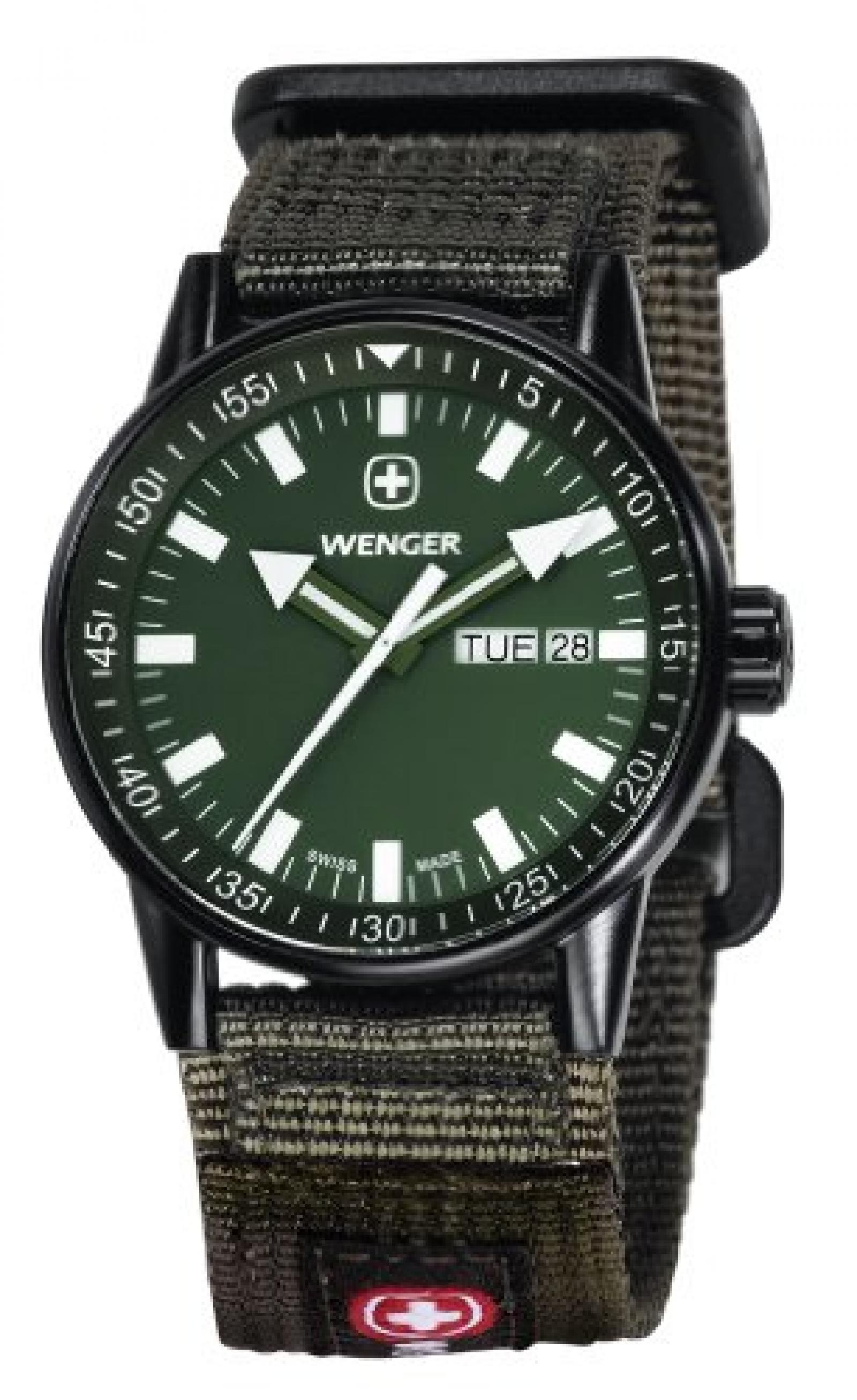Wenger Herren-Armbanduhr XL Commando Black Line Analog Quarz Nylon 70174