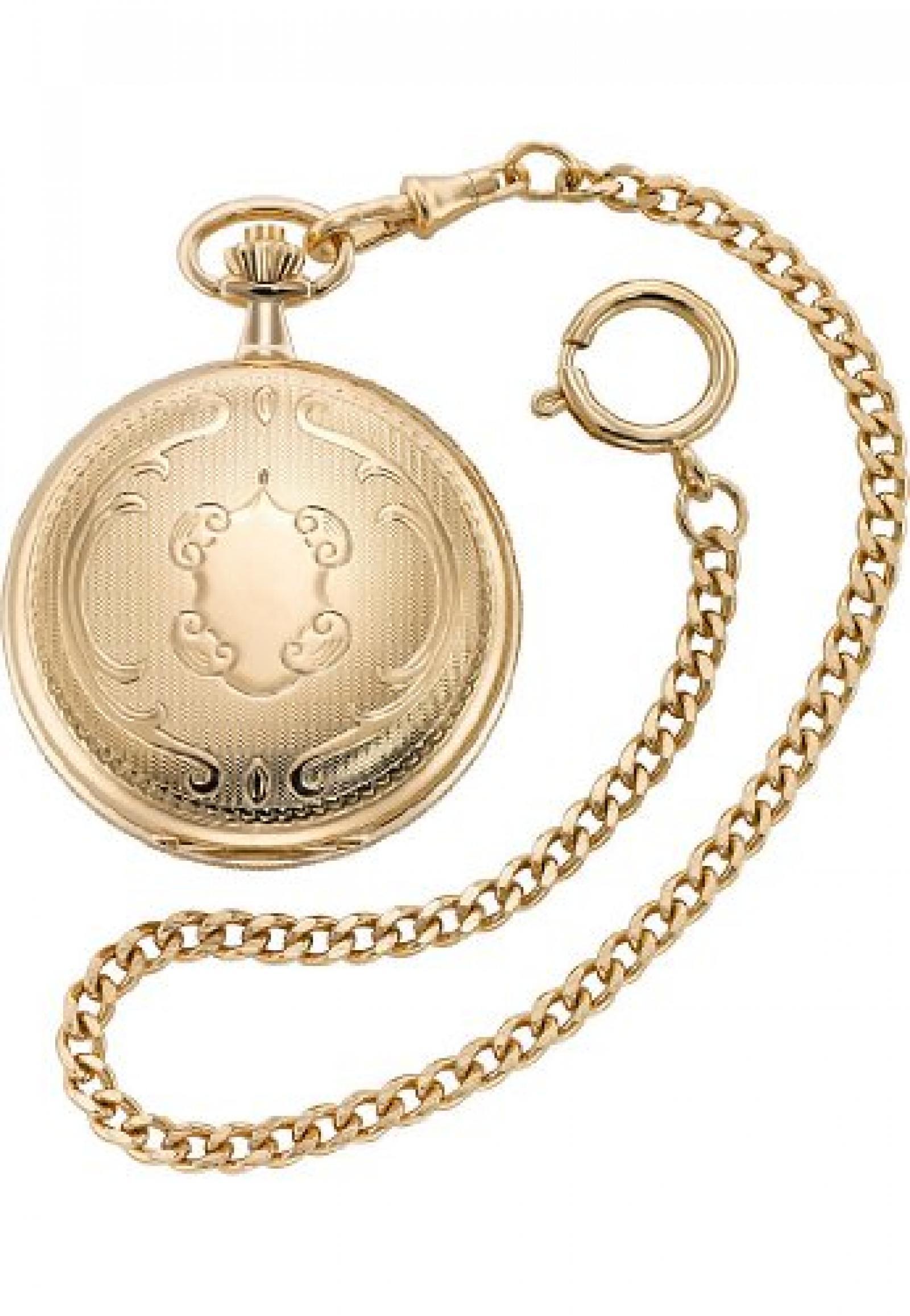 CHRIST times Unisex-Taschenuhr Taschenuhr Analog Mechanisch One Size, weiß, gold/weiß