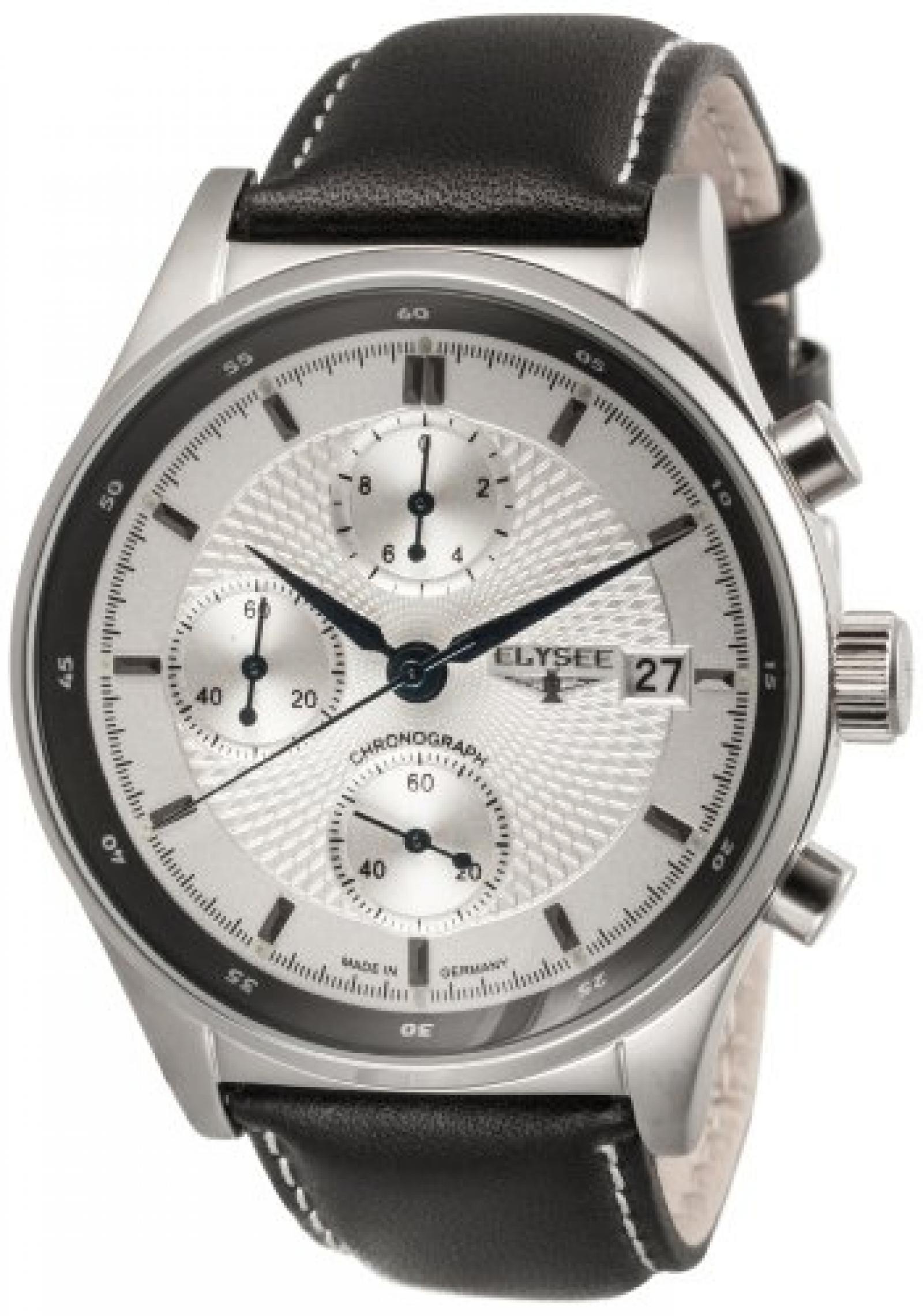 Elysee Herren-Armbanduhr XL ANTAEUS Analog Leder 80504