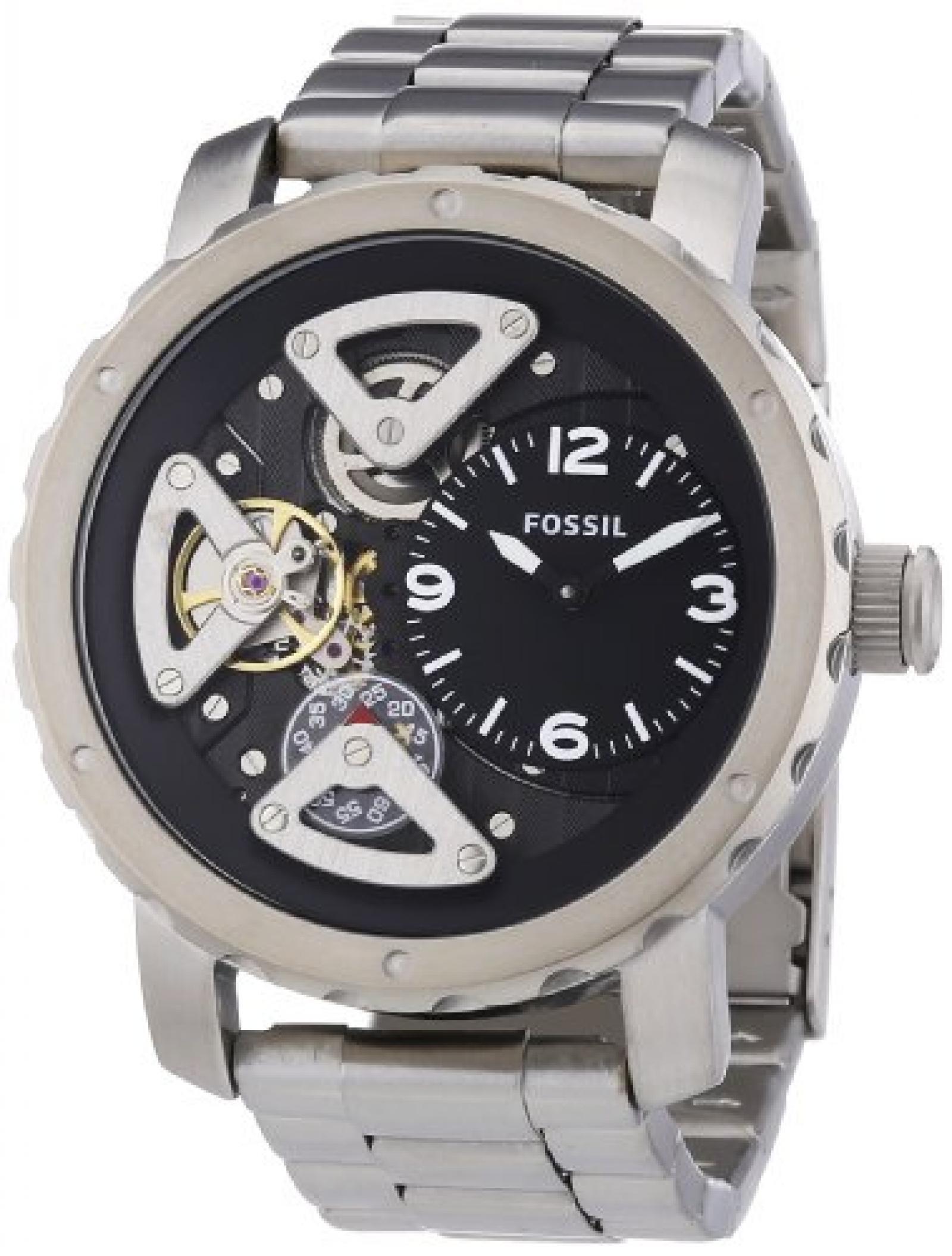 Fossil Herren-Armbanduhr XL Analog Quarz Edelstahl ME1132