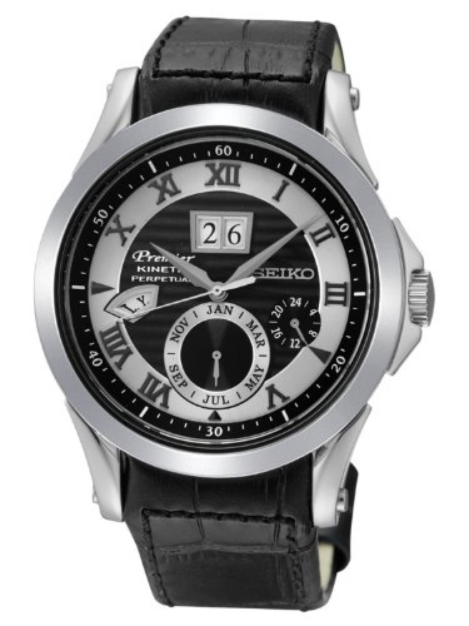 Seiko Herren-Armbanduhr XL Premier Analog Automatik Leder SNP061P1