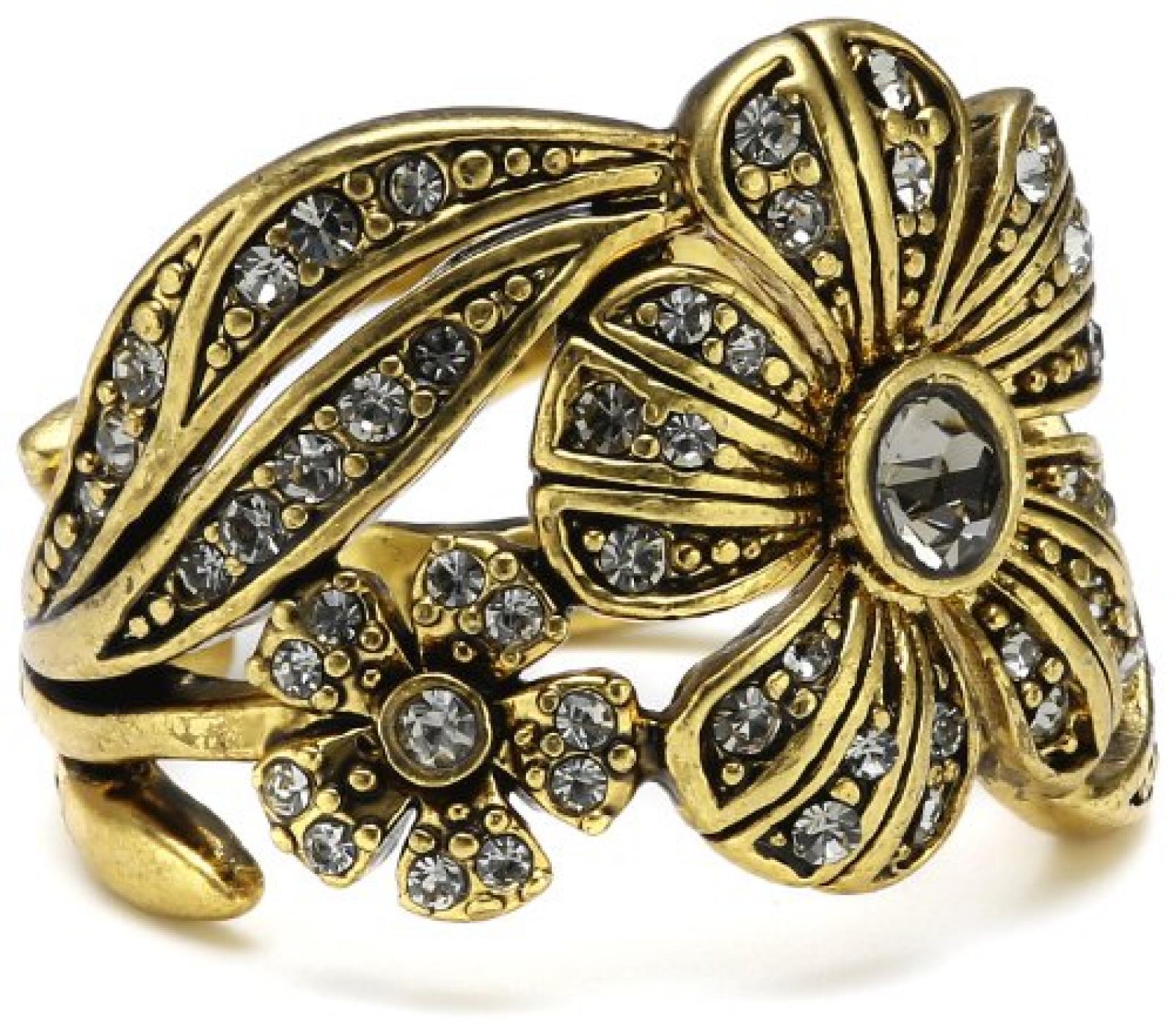 Pilgrim Jewelry Damen-Ring aus der Serie Desert flower vergoldet grau verstellbar 1.6 cm 121232104